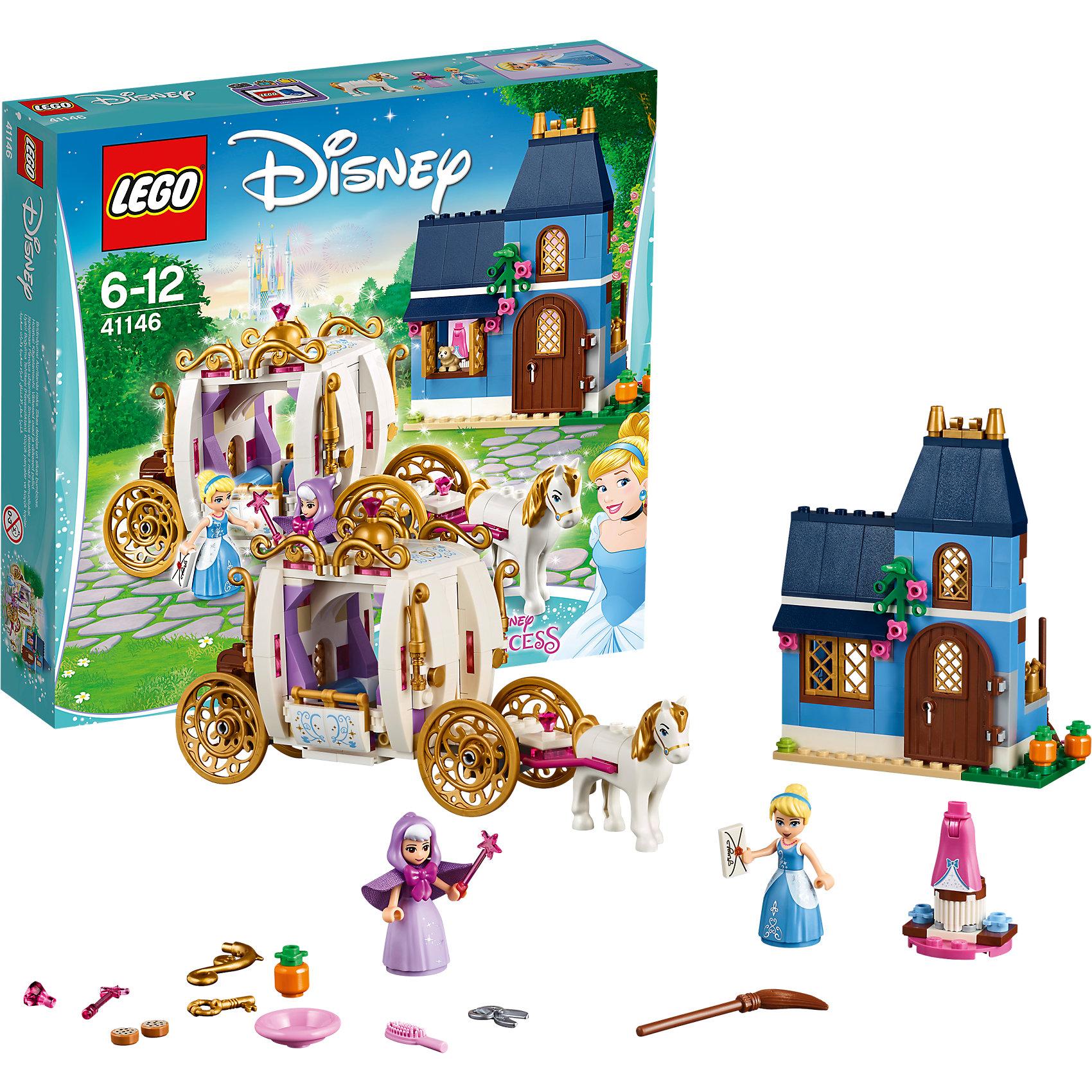 LEGO Disney Princesses 41146: Сказочный вечер ЗолушкиПластмассовые конструкторы<br><br><br>Ширина мм: 281<br>Глубина мм: 261<br>Высота мм: 66<br>Вес г: 516<br>Возраст от месяцев: 72<br>Возраст до месяцев: 144<br>Пол: Женский<br>Возраст: Детский<br>SKU: 5620033