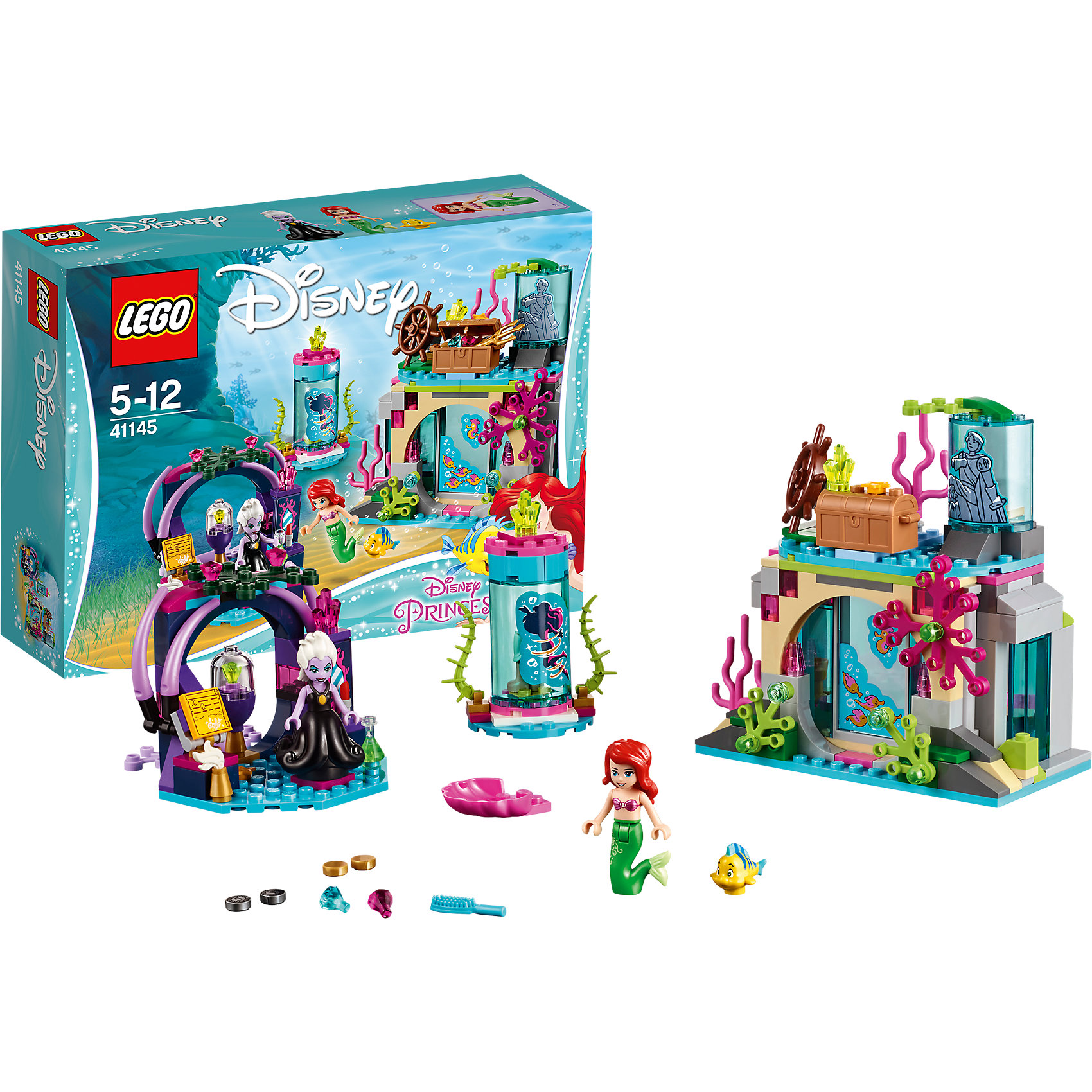 LEGO Disney Princesses 41145: Ариэль и магическое заклятьеПластмассовые конструкторы<br>Характеристики товара: <br><br>• возраст: от 5 лет;<br>• материал: пластик;<br>• в комплекте: 222 детали, 2 минифигурки, фигурка Флаундера;<br>• размер упаковки: 26,2х19,1х7,2 см;<br>• вес упаковки: 180 гр.;<br>• страна производитель: Китай.<br><br>Конструктор Lego Disney Princesses «Ариэль и магическое заклятие» посвящен Принцессам Дисней. В данном наборе представлена Русалочка Ариэль. Из деталей собираются домик Ариэль и жилище злой ведьмы Урсулы. Домик Русалочки украшен водорослями, наверху расположены сундук с сокровищами и статуя принца. В жилище ведьмы находятся зелье, зеркало, табличка с заклинанием. У Урсулы есть секретный аппарат, который может превратить Русалочку в обычную девушку.<br><br>Конструктор Lego Disney Princesses «Ариэль и магическое заклятие» можно приобрести в нашем интернет-магазине.<br><br>Ширина мм: 278<br>Глубина мм: 238<br>Высота мм: 213<br>Вес г: 420<br>Возраст от месяцев: 60<br>Возраст до месяцев: 144<br>Пол: Женский<br>Возраст: Детский<br>SKU: 5620034