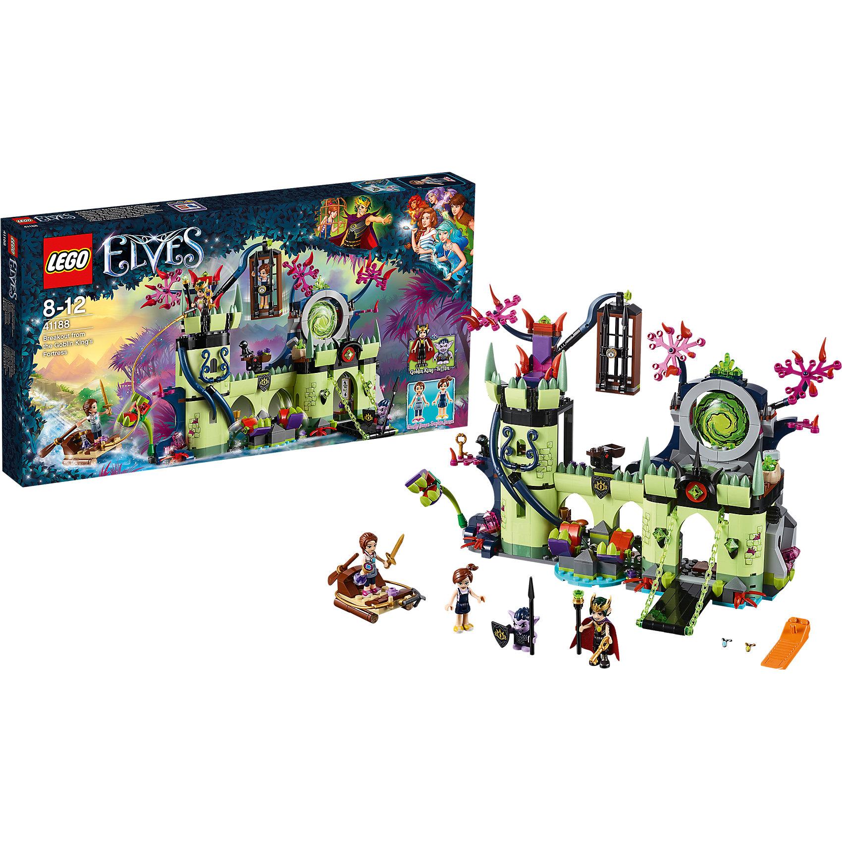 Конструктор Lego Elves 41188: Побег из крепости Короля гоблиновПластмассовые конструкторы<br>Характеристики товара:<br><br>• возраст: от 8 лет;<br>• материал: пластик;<br>• в комплекте: 695 деталей;<br>• количество минифигурок: 4<br>• размер упаковки: 54х28,2х6 см;<br>• вес упаковки: 1,015 кг;<br>• страна производитель: Китай.<br><br>Конструктор Lego Elves «Побег из крепости Короля гоблинов» относится к серии Лего Эльфы, рассказывающей о хранительнице портала между миром эльфов и людей Эмили Джонс. Эмили надо спасти свою маленькую сестру Софи, которая заточена в клетке в замке Короля гоблинов.  В замке встречается много препятствий: плотоядные растения и деревья, острые пики.<br><br>Из элементов конструктора предстоит собрать замок и 4 фигурки. С ними девочка сможет придумать захватывающие сюжеты для игры. Сборка конструктора развивает у детей мелкую моторику рук, усидчивость, логическое мышление.<br><br>Конструктор Lego Elves «Побег из крепости Короля гоблинов» можно приобрести в нашем интернет-магазине.<br><br>Ширина мм: 536<br>Глубина мм: 281<br>Высота мм: 66<br>Вес г: 1033<br>Возраст от месяцев: 96<br>Возраст до месяцев: 2147483647<br>Пол: Женский<br>Возраст: Детский<br>SKU: 5620039