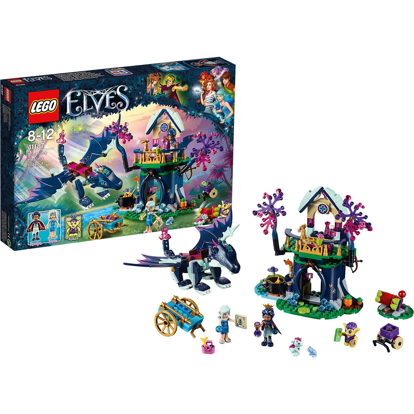 Конструктор Lego Elves 41187: Тайная лечебница РозалинПластмассовые конструкторы<br>Характеристики товара:<br><br>• возраст: от 8 лет;<br>• материал: пластик;<br>• количество деталей: 460 деталей;<br>• в комплекте: детали конструктора, 3 минифигурки, 2 микрофигурки, повозка, дракон, хищное растение, аксессуары<br>• размер упаковки: 38,2х26,2х5,7 см;<br>• вес упаковки: 615 гр.;<br>• страна производитель: Китай.<br><br>Конструктор Lego Elves «Тайная лечебница Розалин» относится к серии Лего Эльфы, рассказывающей о хранительнице портала между миром эльфов и людей Эмили Джонс. В лечебнице Розалин имеется все необходимое для исцеления: колбы, кристаллы, овощи, котел. Для защиты от гоблинов Розалин использует лук, а также телескоп для осмотра местности. С ней ее верный дракон Сапфир. К Розалин заехала эльф воды Наида и привезла продуктов.<br><br>Из элементов конструктора предстоит собрать домик, повозку, дракона, фигурки эльфов и гоблина. С ними девочка сможет придумать захватывающие сюжеты для игры. Сборка конструктора развивает у детей мелкую моторику рук, усидчивость, логическое мышление.<br><br>Конструктор Lego Elves «Тайная лечебница Розалин» можно приобрести в нашем интернет-магазине.<br><br>Ширина мм: 382<br>Глубина мм: 262<br>Высота мм: 57<br>Вес г: 486<br>Возраст от месяцев: 96<br>Возраст до месяцев: 2147483647<br>Пол: Женский<br>Возраст: Детский<br>SKU: 5620040