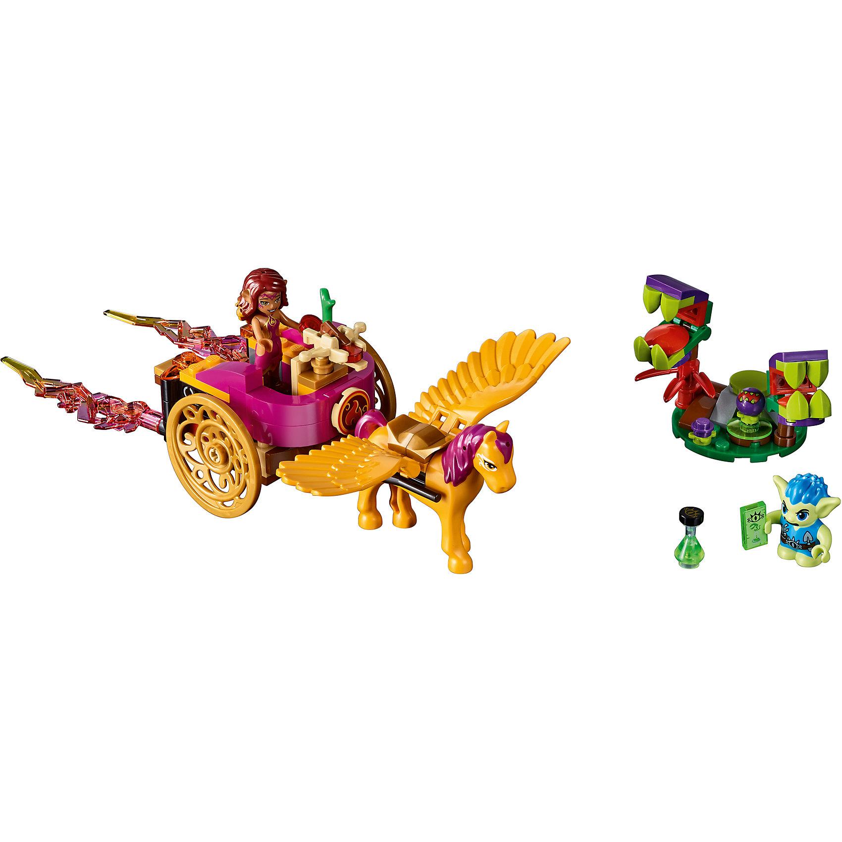 Конструктор Lego Elves 41186: Побег Азари из леса гоблиновПластмассовые конструкторы<br>Характеристики товара:<br><br>• возраст: от 7 лет;<br>• материал: пластик;<br>• в комплекте: 145 деталей;<br>• количество мини-фигурок: 2<br>• размер упаковки: 26,2х14,1х4,8 см;<br>• вес упаковки: 220 гр.;<br>• страна производитель: Китай.<br><br>Конструктор Lego Elves «Побег Азари из леса гоблинов» относится к серии Лего Эльфы, рассказывающей о хранительнице портала между миром эльфов и людей Эмили Джонс. Эльф огня Азари торопится на помощь Эмили Джонс, которая хочет спасти свою сестру от Короля Гоблинов. Азари отправляется на поиски на большой карете, запряженной золотым пегасом. А преследует ее маленький опасный гоблин Гакслин. <br><br>Из элементов конструктора предстоит собрать 2 фигурки героев, карету и растения. С ними девочка сможет придумать захватывающие сюжеты для игры. Сборка конструктора развивает у детей мелкую моторику рук, усидчивость, логическое мышление.<br><br>Конструктор Lego Elves «Побег Азари из леса гоблинов» можно приобрести в нашем интернет-магазине.<br><br>Ширина мм: 264<br>Глубина мм: 142<br>Высота мм: 53<br>Вес г: 215<br>Возраст от месяцев: 84<br>Возраст до месяцев: 2147483647<br>Пол: Женский<br>Возраст: Детский<br>SKU: 5620041