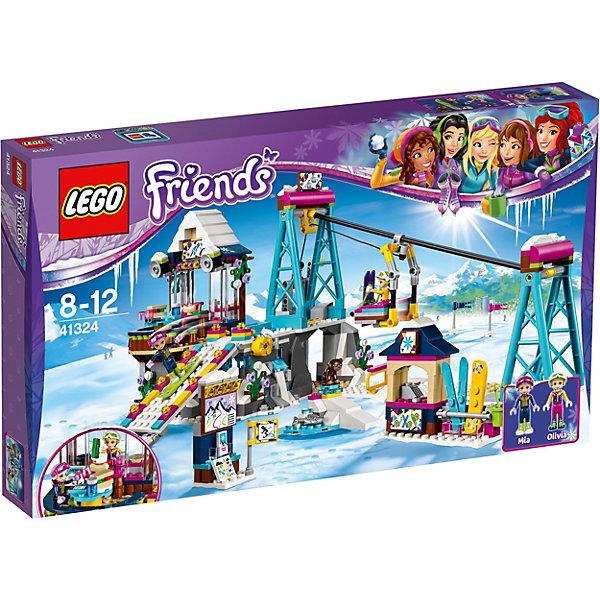 LEGO Friends 41324: Горнолыжный курорт: подъёмникПластмассовые конструкторы<br>Характеристики товара: <br><br>• возраст: от 8 лет;<br>• материал: пластик;<br>• в комплекте: 585 деталей, 2 минифигурки, фигурка медвежонка;<br>• размер упаковки: 48х28,2х6,1 см;<br>• вес упаковки: 660 гр.;<br>• страна производитель: Китай.<br><br>Конструктор Lego Friends «Горнолыжный курорт: подъемник» из серии Лего Подружки, разработанной специально для девочек. Из деталей собираются ресторан в горах и ведущий к нему подъемник. Внизу подъемника расположена стойка для проката снаряжения, лыж, сноубордов. На верху горы уютный ресторанчик с вкусными блюдами. У подъемника поднимающиеся кабинки при помощи специального вращательного механизма с тросом.<br><br>Конструктор Lego Friends «Горнолыжный курорт: подъемник» можно приобрести в нашем интернет-магазине.<br>Ширина мм: 480; Глубина мм: 281; Высота мм: 68; Вес г: 1065; Возраст от месяцев: 96; Возраст до месяцев: 144; Пол: Женский; Возраст: Детский; SKU: 5620042;