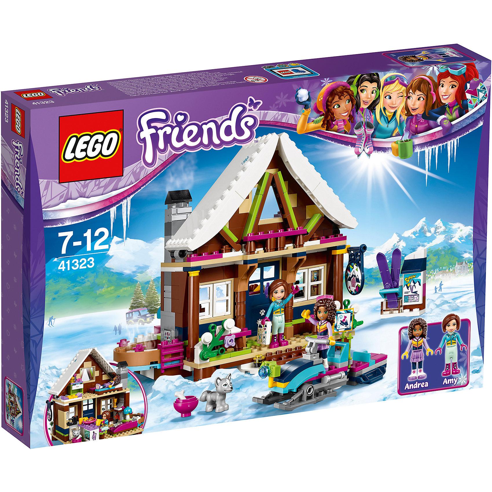 LEGO Friends 41323: Горнолыжный курорт: шалеПластмассовые конструкторы<br><br><br>Ширина мм: 378<br>Глубина мм: 261<br>Высота мм: 63<br>Вес г: 660<br>Возраст от месяцев: 84<br>Возраст до месяцев: 144<br>Пол: Женский<br>Возраст: Детский<br>SKU: 5620043
