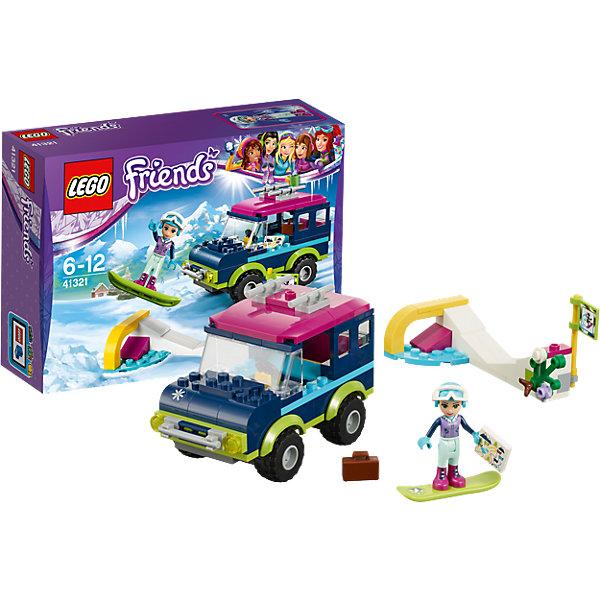 LEGO Friends 41321: Горнолыжный курорт: внедорожникПластмассовые конструкторы<br>Характеристики товара: <br><br>• возраст: от 6 лет;<br>• материал: пластик;<br>• в комплекте: 141 деталь, 1 минифигурка;<br>• размер упаковки: 19,1х14,1х6,1 см;<br>• вес упаковки: 210 гр.;<br>• страна производитель: Китай.<br><br>Конструктор Lego Friends «Горнолыжный курорт: внедорожник» из серии Лего Подружки, разработанной специально для девочек. Из деталей собираются внедорожник и горнолыжный спуск. У машины вращаются колеса, открывается багажник. На крышу крепится сноуборд.<br><br>Конструктор Lego Friends «Горнолыжный курорт: внедорожник» можно приобрести в нашем интернет-магазине.<br><br>Ширина мм: 192<br>Глубина мм: 142<br>Высота мм: 66<br>Вес г: 212<br>Возраст от месяцев: 72<br>Возраст до месяцев: 144<br>Пол: Женский<br>Возраст: Детский<br>SKU: 5620045