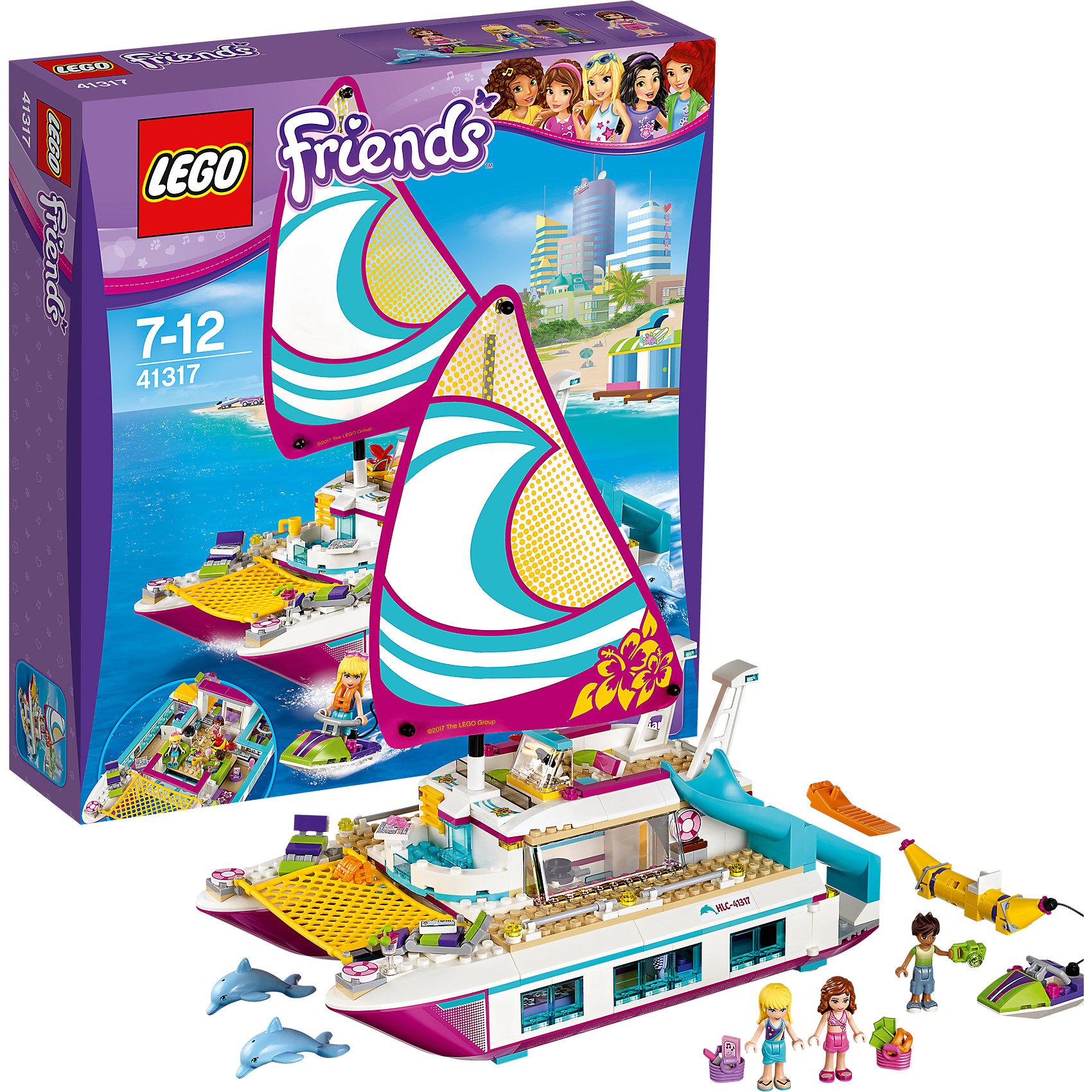 LEGO Friends 41317: Катамаран СаншайнПластмассовые конструкторы<br>Характеристики товара: <br><br>• возраст: от 7 лет;<br>• материал: пластик;<br>• в комплекте: 603 детали, 3 минифигурки, 2 фигурки дельфинов;<br>• размер упаковки: 35,4х37,8х9,4 см;<br>• вес упаковки: 1,32 кг;<br>• страна производитель: Китай.<br><br>Конструктор Lego Friends «Катамаран Саншайн» из серии Лего Подружки, разработанной специально для девочек. Из деталей собирается парусный катамаран для морских прогулок. На борту расположены шезлонги для отдыха и горка для спуска в воду. Имеется и каюта, где есть спальня, ванная и небольшая кухня. В грузовом отсеке размещается скутер.<br><br>Конструктор Lego Friends «Катамаран Саншайн» можно приобрести в нашем интернет-магазине.<br><br>Ширина мм: 348<br>Глубина мм: 375<br>Высота мм: 99<br>Вес г: 1311<br>Возраст от месяцев: 84<br>Возраст до месяцев: 144<br>Пол: Женский<br>Возраст: Детский<br>SKU: 5620047