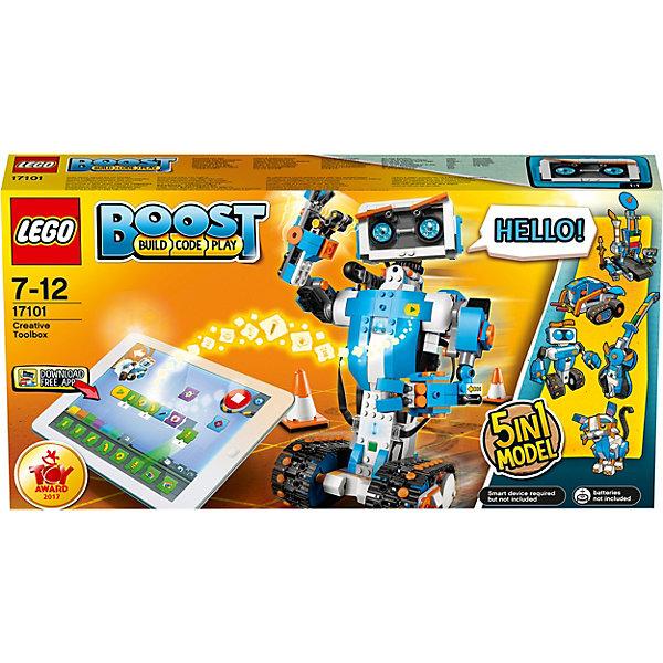 LEGO Boost 17101: Набор для конструирования и программированияLEGO<br>Характеристики товара:<br>• возраст: от 7 лет;<br>• материал: пластик;<br>• количество деталей: 847 шт.;<br>• в наборе: робот Верни, коврик для игры;<br>• высота робота Верни: 27 см;<br>• тип батареек: 6хААА 1,5V;<br>• наличие батареек: не в комплекте;<br>• размер упаковки: 28х54х9 см;<br>• вес упаковки: 1,38 кг.;<br>• страна бренда: Дания.<br><br>Из конструктора LEGO Boost: «Набор для конструирования и программирования» можно собрать интерактивного робота Верни, который обладает рядом функций: может перемещаться на гусеницах, крутиться в разных направлениях, стрелять дротиками. Кроме того, робот обладает мимикой и умеет жестикулировать, различает предметы и цвета, переносит объекты.<br><br>Помимо робота из деталей набора получаются еще 4 игрушки: M.T.R.4 (многофункциональный вездеход 4), гитара 4000, кот Фрэнки и автомастерская. Каждая из них имеет интерактивное устройство. Детали конструктора выполнены из прочного безопасного пластика. Игра развивает логическое и пространственное мышление.<br><br>Особенности и функционал:<br>• конструктор 5 в 1;<br>• для сборки и управления фигурами необходимо установить бесплатное приложение на планшет или компьютер;<br>• имеется датчик движения, интерактивный мотор, сенсоры для определения дистанции и цветов.<br><br>Конструктор LEGO Boost 17101: «Набор для конструирования и программирования» можно купить в нашем интернет-магазине.<br>Ширина мм: 540; Глубина мм: 284; Высота мм: 96; Вес г: 1431; Возраст от месяцев: 84; Возраст до месяцев: 144; Пол: Унисекс; Возраст: Детский; SKU: 5620048;