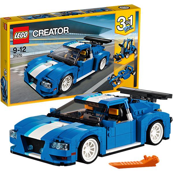 LEGO Creator 31070: Гоночный автомобильПластмассовые конструкторы<br>Характеристики товара: <br><br>• возраст: от 9 лет;<br>• материал: пластик;<br>• в комплекте: 664 детали;<br>• размер упаковки: 48х28,2х6,1 см;<br>• вес упаковки: 1,14 кг;<br>• страна производитель: Чехия.<br><br>Конструктор Lego Creator «Гоночный автомобиль» позволит создать из деталей несколько разных моделей. Основная модель — это гоночный автомобиль. Боковые двери автомобиля открываются, внутри возможно менять положение кресел, руль и коробка передач подвижны. Вращающиеся прорезиненные колеса позволяют машинке ездить по поверхности. Две другие модели — это гоночный болид и погрузчик с подвижной платформой.<br><br>Конструктор Lego Creator «Гоночный автомобиль» можно приобрести в нашем интернет-магазине.<br>Ширина мм: 481; Глубина мм: 291; Высота мм: 68; Вес г: 1150; Возраст от месяцев: 108; Возраст до месяцев: 144; Пол: Мужской; Возраст: Детский; SKU: 5620052;