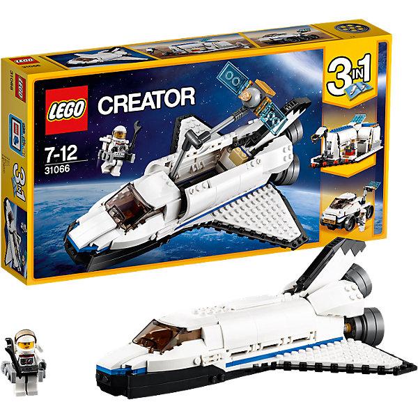 LEGO Creator 31066: Исследовательский космический шаттлПластмассовые конструкторы<br>Характеристики товара: <br><br>• возраст: от 7 лет;<br>• материал: пластик;<br>• в комплекте: 285 деталей, 1 минифигурка;<br>• размер упаковки: 35,4х19,1х5,9 см;<br>• вес упаковки: 560 гр.;<br>• страна производитель: Венгрия.<br><br>Конструктор Lego Creator «Исследовательский космический шаттл» позволит собрать из всех деталей сразу 3 разных космических объекта. Первая модель — космический шаттл, на котором пилот отправляется в экспедицию. Вторая модель — вездеход, который будет исследовать окружающий мир и проводить опыты на других планетах. Третья модель — исследовательская станция для проведения экспериментов и исследований внеземных пород.<br><br>Конструктор Lego Creator «Исследовательский космический шаттл» можно приобрести в нашем интернет-магазине.<br><br>Ширина мм: 356<br>Глубина мм: 193<br>Высота мм: 63<br>Вес г: 560<br>Возраст от месяцев: 84<br>Возраст до месяцев: 144<br>Пол: Мужской<br>Возраст: Детский<br>SKU: 5620053