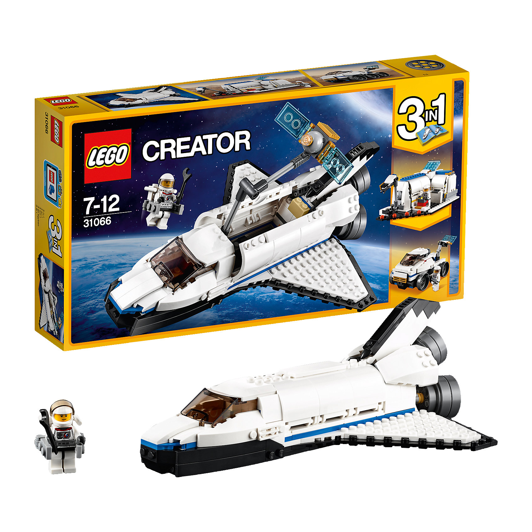 LEGO Creator 31066: Исследовательский космический шаттлПластмассовые конструкторы<br><br><br>Ширина мм: 356<br>Глубина мм: 192<br>Высота мм: 63<br>Вес г: 560<br>Возраст от месяцев: 84<br>Возраст до месяцев: 144<br>Пол: Мужской<br>Возраст: Детский<br>SKU: 5620053