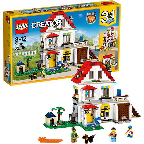 LEGO Creator 31069: Загородный домПластмассовые конструкторы<br>Характеристики товара: <br><br>• возраст: от 8 лет;<br>• материал: пластик;<br>• в комплекте: 728 деталей, 3 минифигурки;<br>• размер упаковки: 48х28,2х7,4 см;<br>• вес упаковки: 1,36 кг;<br>• страна производитель: Чехия.<br><br>Конструктор Lego Creator «Загородный дом» позволит собрать из элементов конструктора сразу несколько вариантов домика для отдыха. Основной вариант — большой двухэтажный домик с мансардой под крышей. Здесь есть небольшой гараж для автомобиля. За гаражом расположена лестница, ведущая на террасу 2 этажа. Рядом с домом лужайка и будка для собачки. Двери и окна дома открываются. Второй вариант — большой шикарный отель для игры в гольф, в котором есть все необходимое для игры. Третий вариант — уютный домик для летнего отдыха с бассейном.<br><br>Конструктор Lego Creator «Загородный дом» можно приобрести в нашем интернет-магазине.<br><br>Ширина мм: 497<br>Глубина мм: 291<br>Высота мм: 81<br>Вес г: 1357<br>Возраст от месяцев: 96<br>Возраст до месяцев: 144<br>Пол: Унисекс<br>Возраст: Детский<br>SKU: 5620054