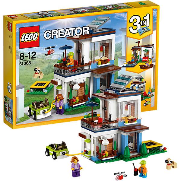 LEGO Creator 31068: Современный домПластмассовые конструкторы<br>Характеристики товара: <br><br>• возраст: от 8 лет;<br>• материал: пластик;<br>• в комплекте: 386 деталей, 2 минифигурки;<br>• размер упаковки: 38,2х26,2х5,7 см;<br>• вес упаковки: 735 гр.;<br>• страна производитель: Чехия.<br><br>Конструктор Lego Creator «Современный дом» позволит собрать из деталей несколько вариантов современного дома. Основная модель — большой двухэтажный дом с 3 комнатами, небольшой террасой на втором этаже и открывающимся люком на крышу. Два других домика — это дом на реке и летний домик для отдыха.<br><br>Конструктор Lego Creator «Современный дом» можно приобрести в нашем интернет-магазине.<br><br>Ширина мм: 383<br>Глубина мм: 264<br>Высота мм: 63<br>Вес г: 740<br>Возраст от месяцев: 96<br>Возраст до месяцев: 144<br>Пол: Унисекс<br>Возраст: Детский<br>SKU: 5620055