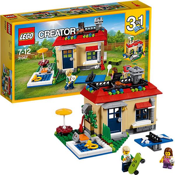 LEGO Creator 31067: Вечеринка у бассейнаПластмассовые конструкторы<br>Характеристики товара: <br><br>• возраст: от 7 лет;<br>• материал: пластик;<br>• в комплекте: 356 деталей, 2 минифигурки;<br>• размер упаковки: 35,4х19,1х7 см;<br>• вес упаковки: 585 гр.;<br>• страна производитель: Чехия.<br><br>Конструктор Lego Creator «Вечеринка у бассейна» позволит собрать из деталей сразу несколько вариантов загородного домика для отдыха. Первый вариант — уютный домик с террасой и бассейном, рядом с домиком можно поиграть в настольный теннис или устроить барбекю на крыше. Второй вариант — домик с беседкой на крыше и горкой для занятий скейтбордом. Третий вариант — дом для любителей музыки с гаражом, в котором можно устроить настоящую музыкальную студию.  <br><br>Конструктор Lego Creator «Вечеринка у бассейна» можно приобрести в нашем интернет-магазине.<br>Ширина мм: 355; Глубина мм: 190; Высота мм: 73; Вес г: 598; Возраст от месяцев: 84; Возраст до месяцев: 144; Пол: Унисекс; Возраст: Детский; SKU: 5620056;