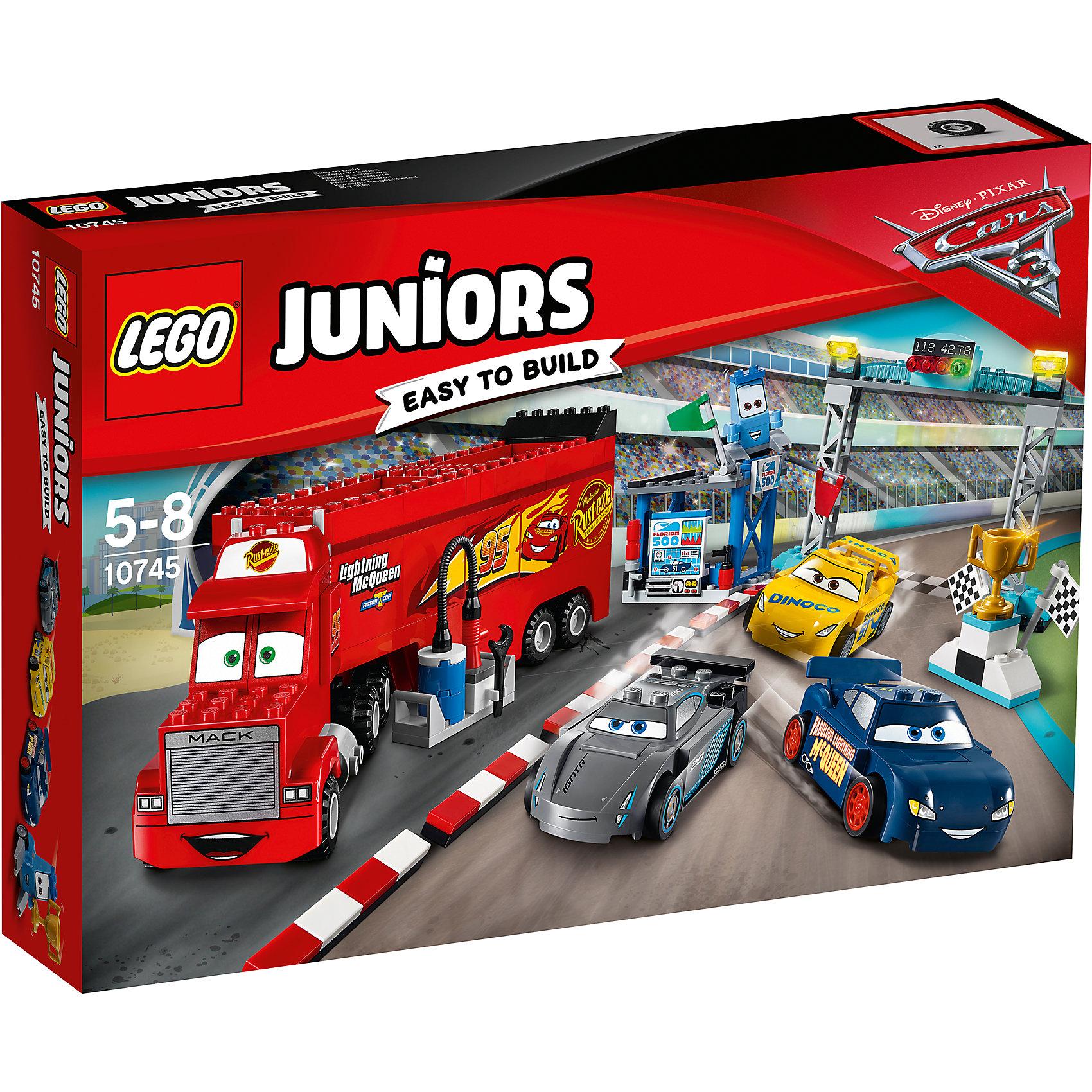 LEGO Juniors 10745: Финальная гонка «Флорида 500»Пластмассовые конструкторы<br><br><br>Ширина мм: 382<br>Глубина мм: 264<br>Высота мм: 78<br>Вес г: 728<br>Возраст от месяцев: 60<br>Возраст до месяцев: 96<br>Пол: Мужской<br>Возраст: Детский<br>SKU: 5620057