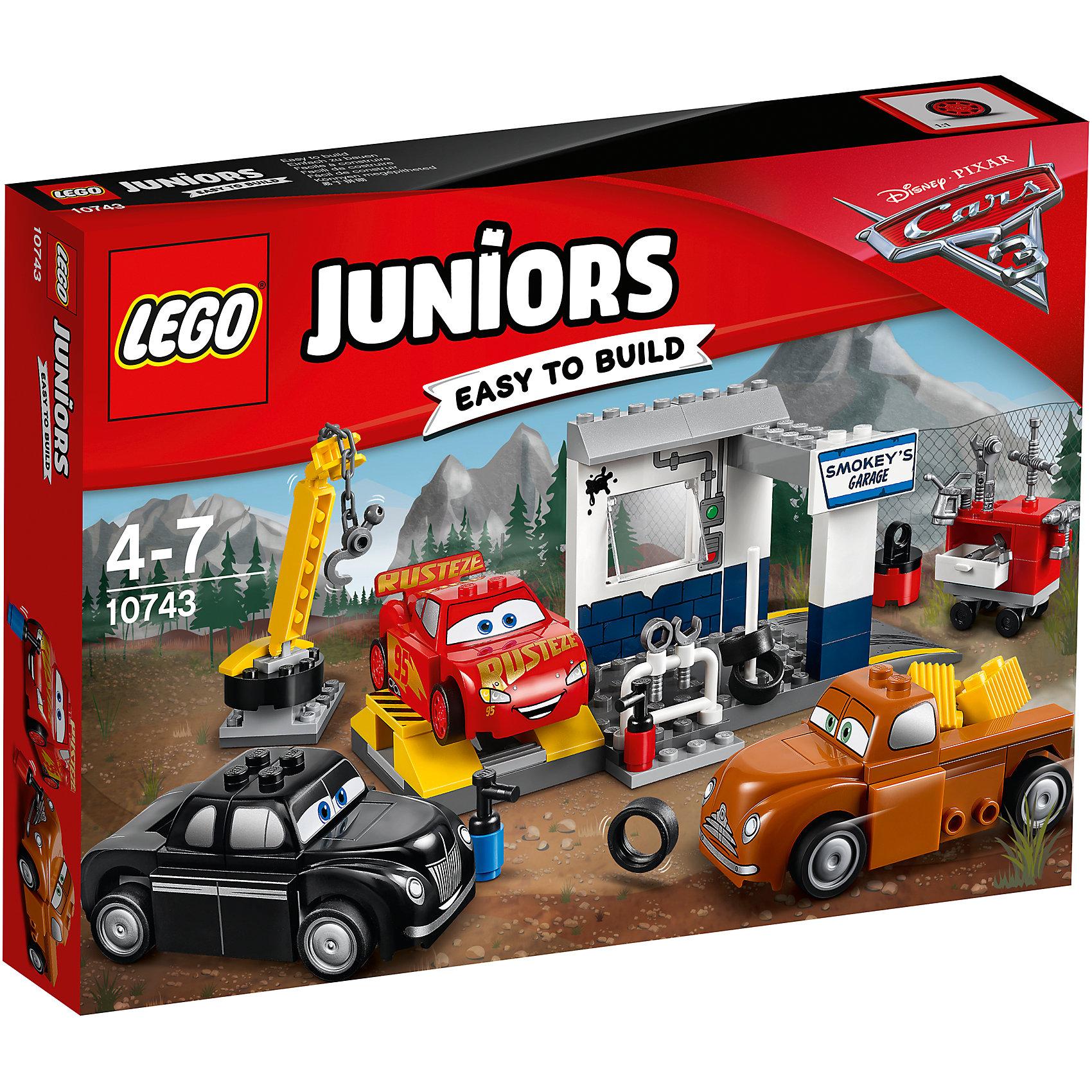 Конструктор LEGO Juniors 10743 Тачки 3: Гараж СмоукиПластмассовые конструкторы<br>Характеристики товара:<br><br>• возраст: от 4 лет;<br>• материал: пластик;<br>• в комплекте: 116 деталей, инструкция;<br>• размер упаковки: 26,2х19,1х4,6 см;<br>• вес упаковки: 305 гр.;<br>• страна производитель: Венгрия.<br><br>Конструктор Lego Juniors «Гараж Смоуки» создан по мотивам мультфильма «Тачки 3». Молния МакКуин тренируется и готовится к стартам вместе со Смоуки и Джуниором Муром. Они готовятся к гонке и исправляют неполадки в специальном гараже Смоуки. Тут они могут заменить шины, провести ремонт при помощи инструментов. Для перемещения тяжелых предметов используется кран с подвижной платформой и вращающимся крюком.<br><br>Из элементов предстоит собрать сразу 3 любимых персонажей, кран, гараж и ящик с инструментами. Все детали конструктора созданы из качественных безопасных материалов. В процессе сборки у ребенка развивается мелкая моторика рук, усидчивость, логическое мышление.<br><br>Конструктор Lego Juniors «Гараж Смоуки» можно приобрести в нашем интернет-магазине.<br><br>Ширина мм: 264<br>Глубина мм: 190<br>Высота мм: 53<br>Вес г: 306<br>Возраст от месяцев: 48<br>Возраст до месяцев: 2147483647<br>Пол: Мужской<br>Возраст: Детский<br>SKU: 5620059