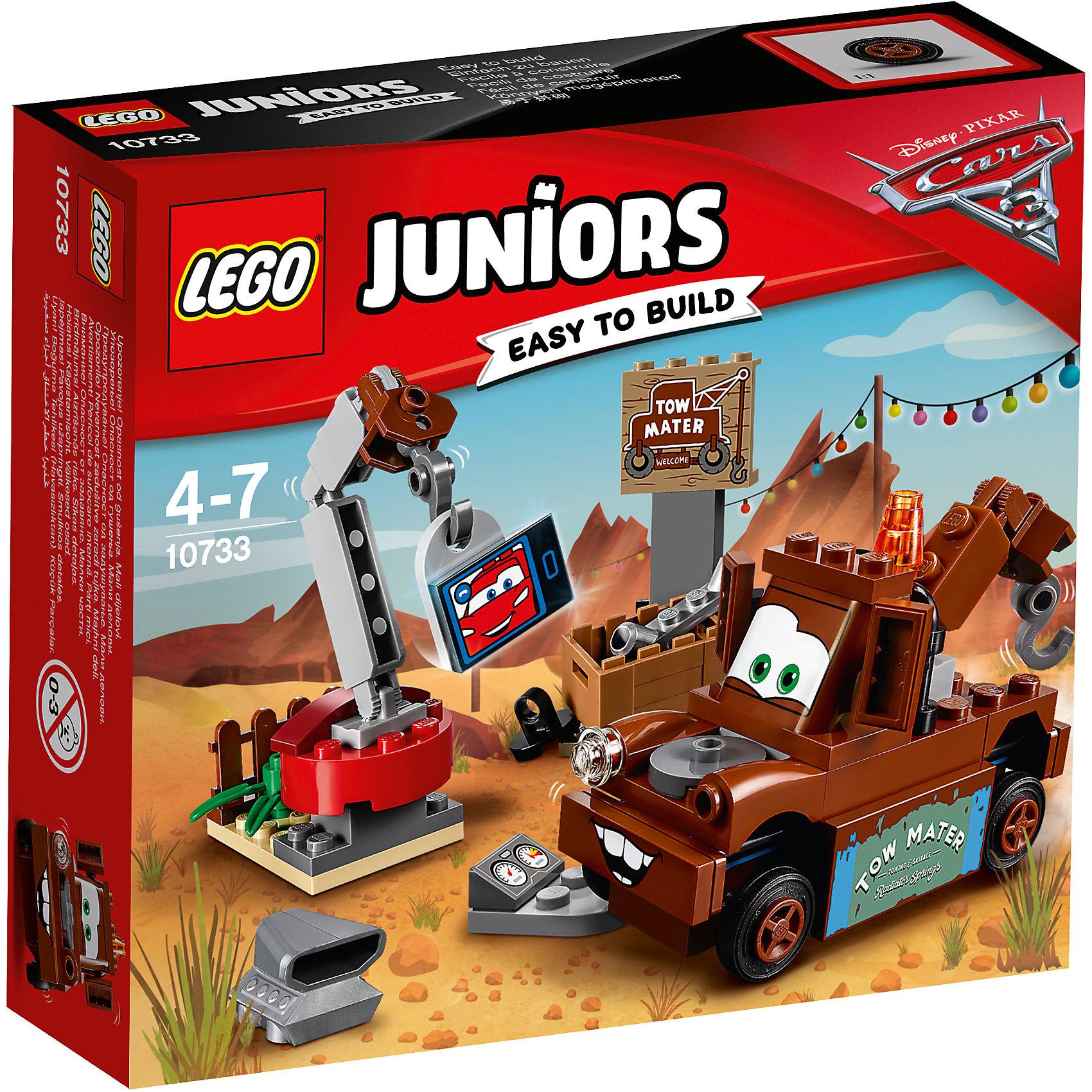 Конструктор LEGO Juniors 10733: Тачки 3 Свалка МэтраПластмассовые конструкторы<br>Характеристики товара:<br><br>• возраст: от 4 лет;<br>• материал: пластик;<br>• в комплекте: 62 детали, инструкция;<br>• размер упаковки: 15,7х14х4,5 см;<br>• вес упаковки: 140 гр.;<br>• страна производитель: Венгрия.<br><br>Конструктор Lego Juniors «Свалка Мэтра» создан по мотивам мультфильма «Тачки 3». Мэтр — лучший друг Молнии МакКуина. Он работает на свалке и разбирает заброшенные старые запчасти при помощи подвижного крана или крюка на корпусе самого Мэтра. Все запчасти располагаются в небольшом ящике. А если во время перерыва он захочет поговорить со своим другом, то может это сделать по настоящей видеосвязи.<br><br>Из элементов предстоит собрать машинку Мэтра, кран и свалку. Все детали конструктора созданы из качественных безопасных материалов. В процессе сборки у ребенка развивается мелкая моторика рук, усидчивость, логическое мышление.<br><br>Конструктор Lego Juniors «Свалка Мэтра» можно приобрести в нашем интернет-магазине.<br><br>Ширина мм: 160<br>Глубина мм: 139<br>Высота мм: 45<br>Вес г: 132<br>Возраст от месяцев: 48<br>Возраст до месяцев: 84<br>Пол: Мужской<br>Возраст: Детский<br>SKU: 5620061