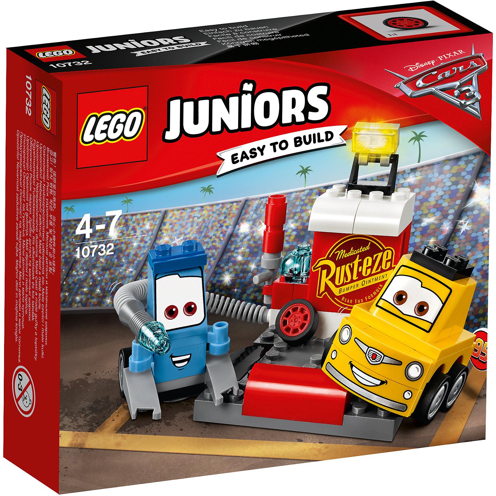 Конструктор LEGO Juniors 10732: Тачки 3 Пит-стоп Гвидо и ЛуиджиПластмассовые конструкторы<br>Характеристики товара:<br><br>• возраст: от 4 лет;<br>• материал: пластик;<br>• в комплекте: 75 деталей, инструкция;<br>• размер упаковки: 15,7х14х4,5 см;<br>• вес упаковки: 130 гр.;<br>• страна производитель: Венгрия.<br><br>Конструктор Lego Juniors «Пит-стоп Гвидо и Луиджи» создан по мотивам мультфильма «Тачки 3». Гвидо и Луиджи занимаются подготовкой гонщиков к старту, устранением технических неисправностей и заправкой бака машинки. Они готовят машинки к гонке на своем пит-стопе, на котором имеются канистра со шлангом для заправки, запасное колесо, шлагбаум, дающий старт.<br><br>Из элементов предстоит собрать 2 машинки и пит-стоп. Все детали конструктора созданы из качественных безопасных материалов. В процессе сборки у ребенка развивается мелкая моторика рук, усидчивость, логическое мышление.<br><br>Конструктор Lego Juniors «Пит-стоп Гвидо и Луиджи» можно приобрести в нашем интернет-магазине.<br><br>Ширина мм: 159<br>Глубина мм: 142<br>Высота мм: 48<br>Вес г: 132<br>Возраст от месяцев: 48<br>Возраст до месяцев: 2147483647<br>Пол: Мужской<br>Возраст: Детский<br>SKU: 5620062