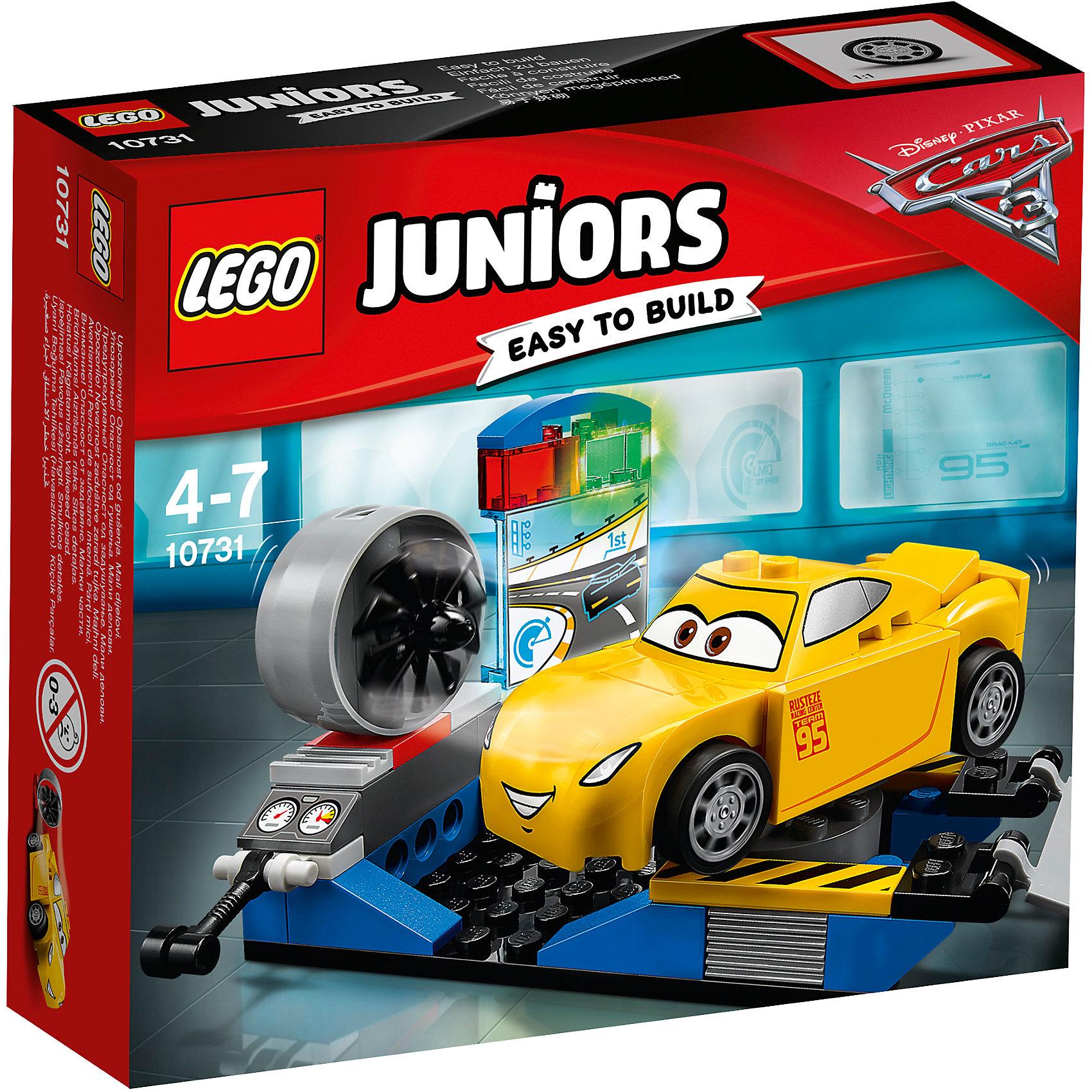 LEGO Juniors 10731: Гоночный тренажёр Крус РамиресПластмассовые конструкторы<br><br><br>Ширина мм: 157<br>Глубина мм: 141<br>Высота мм: 45<br>Вес г: 129<br>Возраст от месяцев: 48<br>Возраст до месяцев: 84<br>Пол: Мужской<br>Возраст: Детский<br>SKU: 5620063