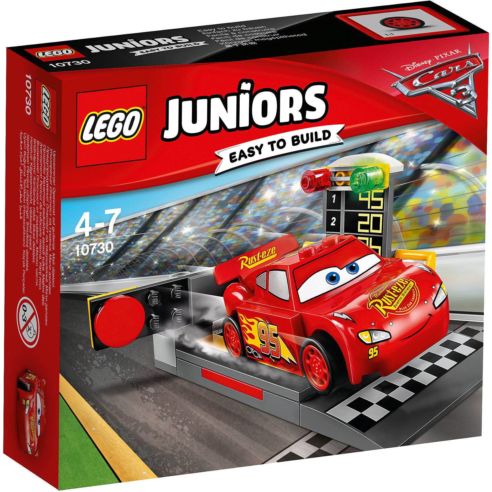 LEGO Juniors 10730: Устройство для запуска Молнии МакКуинаПластмассовые конструкторы<br><br><br>Ширина мм: 157<br>Глубина мм: 141<br>Высота мм: 45<br>Вес г: 120<br>Возраст от месяцев: 48<br>Возраст до месяцев: 84<br>Пол: Мужской<br>Возраст: Детский<br>SKU: 5620064