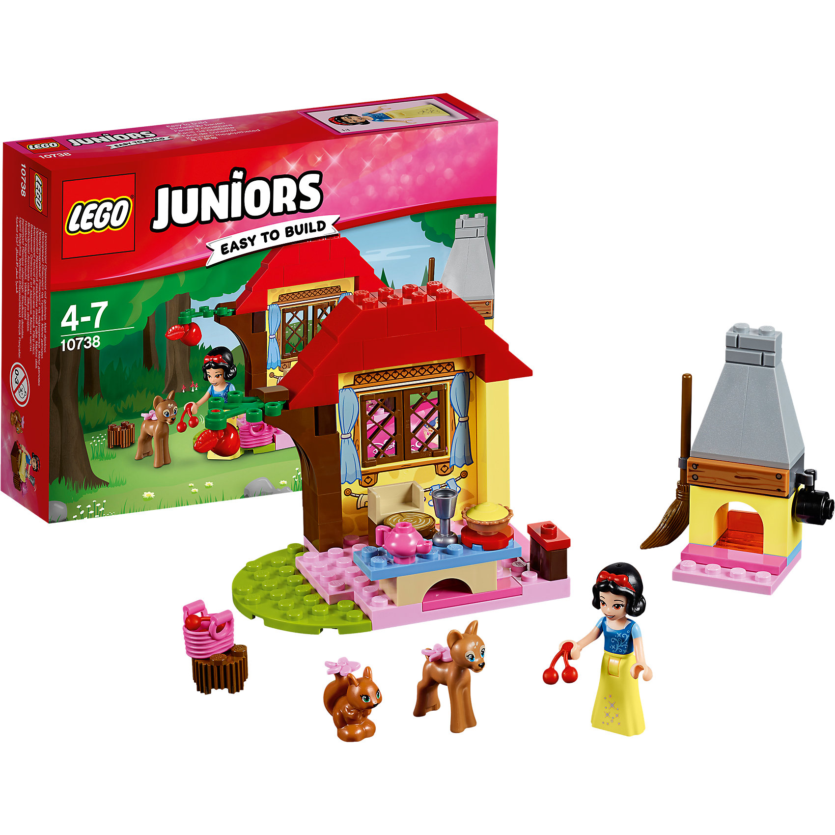 LEGO Juniors 10738: Лесной домик БелоснежкиПластмассовые конструкторы<br><br><br>Ширина мм: 193<br>Глубина мм: 142<br>Высота мм: 50<br>Вес г: 153<br>Возраст от месяцев: 48<br>Возраст до месяцев: 84<br>Пол: Мужской<br>Возраст: Детский<br>SKU: 5620066