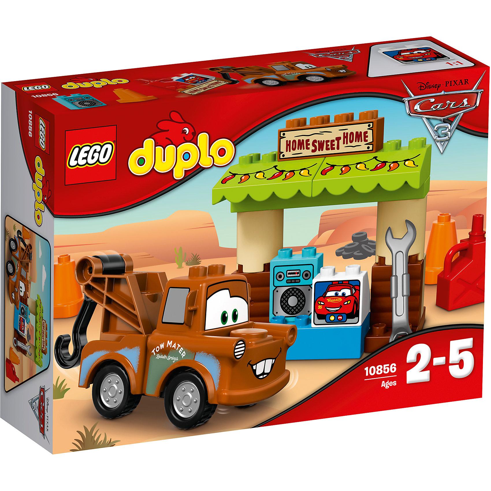 Конструктор LEGO DUPLO 10856 Тачки 3: Гараж МэтраКонструкторы для малышей<br>Характеристики товара:<br><br>• возраст: от 2 лет;<br>• материал: пластик;<br>• в комплекте: 23 детали, инструкция;<br>• размер упаковки: 26,2х19,1х7,2 см;<br>• вес упаковки: 380 гр.;<br>• страна производитель: Китай.<br><br>Конструктор Lego Duplo «Гараж Мэтра» создан по мотивам мультфильма «Тачки 3». Мэтр занимается ремонтом машинок в своем гараже. Ему придут на помощь все необходимые инструменты: гаечный ключ, конус и канистра. Гараж напоминает настоящий уютный домик Мэтра. Когда он захочет отдохнуть, он может послушать музыку или поговорить с лучшим другом Молнией МакКуином. <br><br>Из элементов предстоит собрать машинку и гараж. Все детали конструктора созданы из качественных безопасных материалов. В процессе сборки у ребенка развивается мелкая моторика рук, усидчивость, логическое мышление.<br><br>Конструктор Lego Duplo «Гараж Мэтра» можно приобрести в нашем интернет-магазине.<br><br>Ширина мм: 264<br>Глубина мм: 190<br>Высота мм: 81<br>Вес г: 383<br>Возраст от месяцев: 24<br>Возраст до месяцев: 2147483647<br>Пол: Мужской<br>Возраст: Детский<br>SKU: 5620068