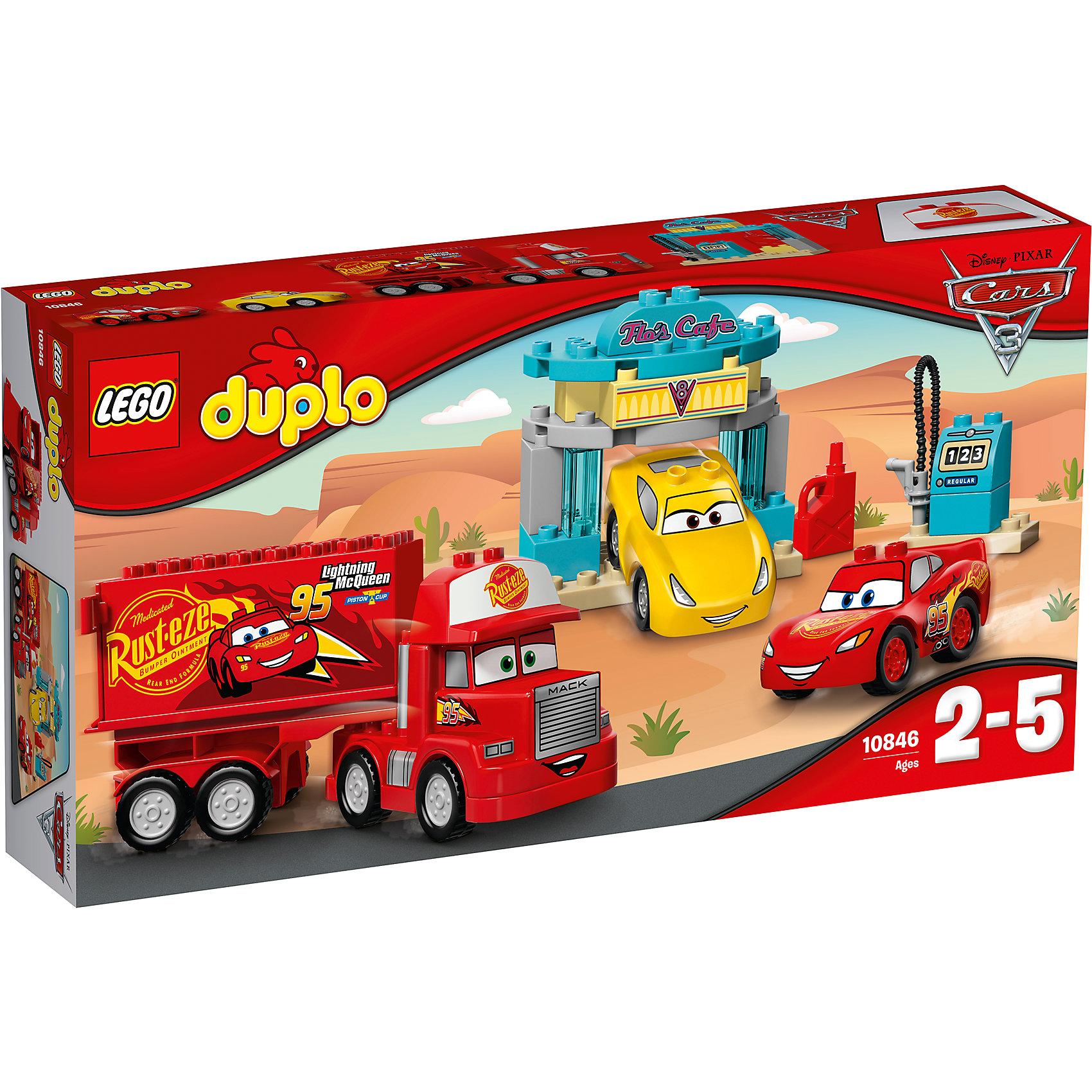 Конструктор LEGO DUPLO 10846 Тачки 3: Кафе ФлоКонструкторы для малышей<br>Характеристики товара:<br><br>• возраст: от 2 лет;<br>• материал: пластик;<br>• в комплекте: 28 деталей, инструкция;<br>• размер упаковки: 28,2х9,1х54 см;<br>• вес упаковки: 930 гр.;<br>• страна производитель: Китай.<br><br>Конструктор Lego Duplo «Кафе Фло» создан по мотивам мультфильма «Тачки 3». Кафе Фло — настоящее кафе для машинок, где они могут подзаправиться топливом. Тут можно найти заправочную станцию со шлангом и небольшую арку для заезда. Сюда заехали Молния МакКуин, грузовик Мак и Круз Рамирес. При этом Молния МакКуин приехал не сам, а поместился в кузове грузовичка Мака.<br><br>Из элементов предстоит собрать 3 машинки, топливную станцию, арку. Все детали конструктора созданы из качественных безопасных материалов. В процессе сборки у ребенка развивается мелкая моторика рук, усидчивость, логическое мышление.<br><br>Конструктор Lego Duplo «Кафе Фло» можно приобрести в нашем интернет-магазине.<br><br>Ширина мм: 541<br>Глубина мм: 281<br>Высота мм: 96<br>Вес г: 947<br>Возраст от месяцев: 24<br>Возраст до месяцев: 2147483647<br>Пол: Мужской<br>Возраст: Детский<br>SKU: 5620069