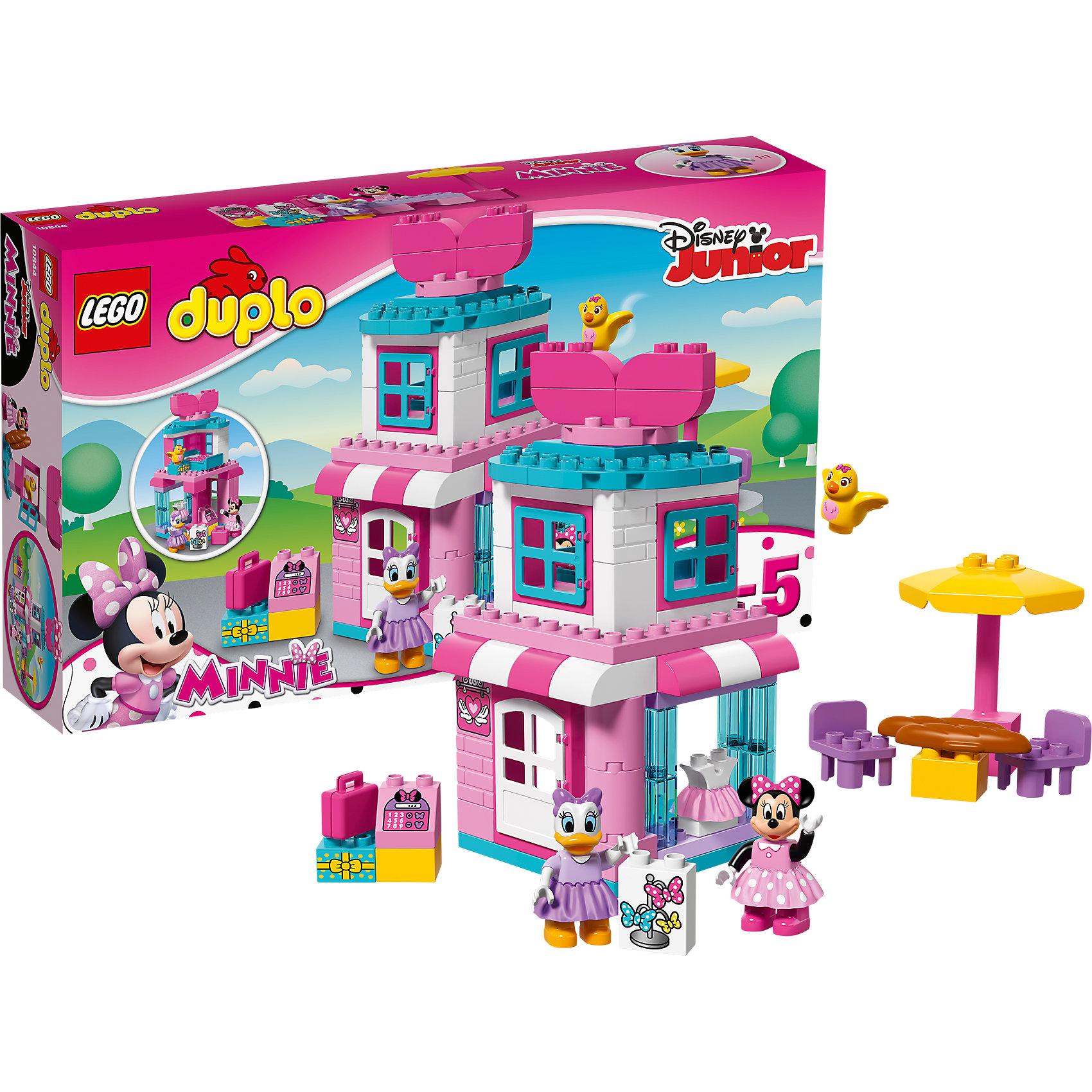 LEGO DUPLO 10844: Магазинчик Минни МаусКонструкторы для малышей<br>Характеристики товара:<br><br>• возраст: от 2 лет;<br>• материал: пластик;<br>• в комплекте: 70 деталей;<br>• количество минифигурок: 2;<br>• размер упаковки: 48х28,2х9,1 см;<br>• вес упаковки: 980 гр.;<br>• страна производитель: Китай.<br><br>Конструктор Lego Duplo «Магазинчик Минни Маус» создан по мотивам мультфильмов про Микки Мауса. Минни держит небольшой магазинчик, где продает красивые наряды. На втором этаже располагается ее спальня с окошками. Иногда в гости к Минни заходит подруга Дэйзи, и вместе они отдыхают на шезлонгах под зонтиком.<br><br>Из элементов конструктора предстоит собрать 2 фигурки, магазин, зонтик со стульями. Все детали выполнены из качественных безопасных материалов. В процессе сборки конструктора у детей развиваются мелкая моторика рук, усидчивость, логическое мышление.<br><br>Конструктор Lego Duplo «Магазинчик Минни Маус» можно приобрести в нашем интернет-магазине.<br><br>Ширина мм: 482<br>Глубина мм: 284<br>Высота мм: 96<br>Вес г: 983<br>Возраст от месяцев: 24<br>Возраст до месяцев: 2147483647<br>Пол: Мужской<br>Возраст: Детский<br>SKU: 5620070