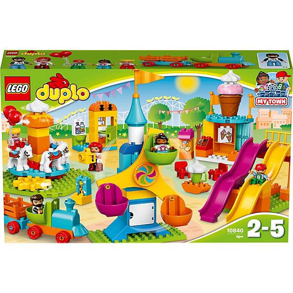 LEGO DUPLO 10840: Большой парк аттракционовПластмассовые конструкторы<br>Характеристики товара: <br><br>• возраст: от 2 лет;<br>• материал: пластик;<br>• в комплекте: 106 деталей, 5 минифигурок;<br>• размер упаковки: 58,2х37,8х11,8 см;<br>• вес упаковки: 2,12 кг;<br>• страна производитель: Венгрия.<br><br>Конструктор Lego Duplo «Большой парк аттракционов» позволит собрать яркий и настоящий парк с аттракционами. В этом парке есть большое колесо обозрения с 3 кабинками и открывающейся дверцей, 2 горки, карусель с лошадками. Поезд на колесиках катает детишек по парку. А перекусить вкусным мороженым они могут в небольшом кафе.<br><br>Конструктор Lego Duplo «Большой парк аттракционов» можно приобрести в нашем интернет-магазине.<br><br>Ширина мм: 583<br>Глубина мм: 378<br>Высота мм: 119<br>Вес г: 2117<br>Возраст от месяцев: 24<br>Возраст до месяцев: 60<br>Пол: Мужской<br>Возраст: Детский<br>SKU: 5620072