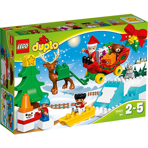 LEGO DUPLO 10837: Новый годКонструкторы для малышей<br>Характеристики товара: <br><br>• возраст: от 2 лет;<br>• материал: пластик;<br>• в комплекте: 45 деталей, 3 минифигурки, 2 фигурки животных;<br>• размер упаковки: 38,2х26,2х9,4 см;<br>• вес упаковки: 780 гр.;<br>• страна производитель: Венгрия.<br><br>Конструктор Lego Duplo «Новый год» - удивительный конструктор, который зарядит ребенка новогодним настроением. Из деталей конструктора собирается настоящее новогоднее представление. Дед Мороз везет на своей упряжке детям подарки. Упряжку везет олень. Детки украшают елочку и катаются со снежной горки. У саней подвижные колеса, благодаря которым они ездят по поверхности. Внутри горки спрятан отсек с дверцей, в котором можно спрятать подарки.<br><br>Конструктор Lego Duplo «Новый год» можно приобрести в нашем интернет-магазине.<br>Ширина мм: 385; Глубина мм: 259; Высота мм: 96; Вес г: 783; Возраст от месяцев: 24; Возраст до месяцев: 60; Пол: Мужской; Возраст: Детский; SKU: 5620074;
