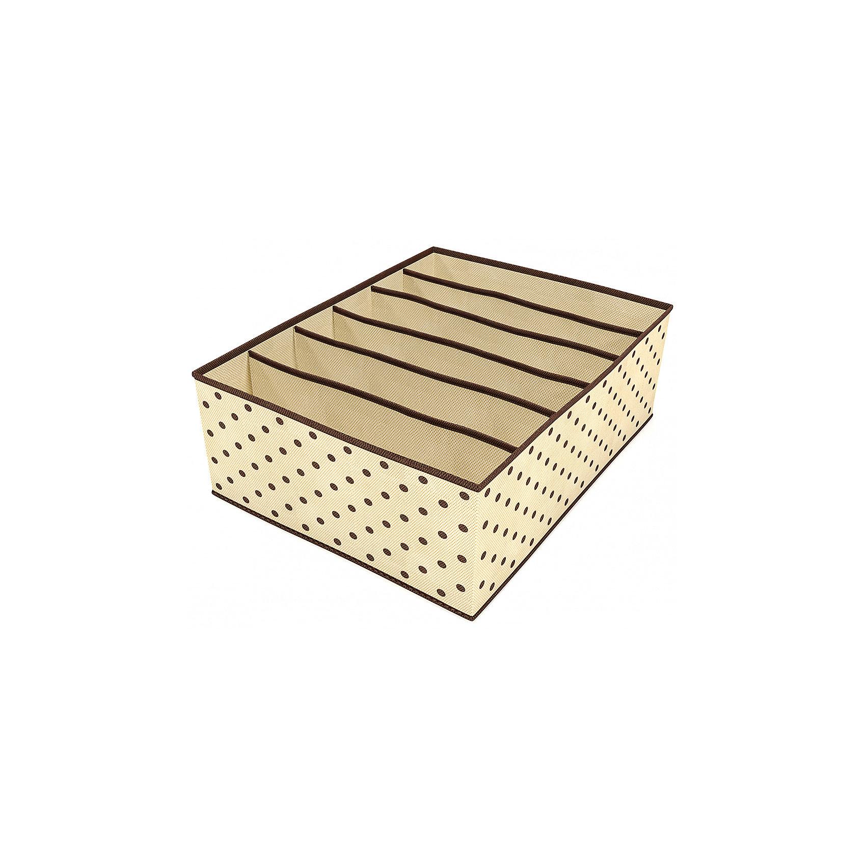 Органайзер для бюстгальтеров (6 секций), HomsuПорядок в детской<br>Характеристики товара:<br><br>• цвет: бежевый<br>• материал: полиэстер, картон<br>• размер: 31х24х11 см<br>• вес: 200 г<br>• легкий прочный каркас<br>• обеспечивает естественную вентиляцию<br>• вместимость: 6 отделений<br>• страна бренда: Россия<br>• страна изготовитель: Китай<br><br>Органайзер для бюстгальтеров на 6 секций от бренда Homsu (Хомсу) - очень удобная вещь для хранения вещей и эргономичной организации пространства.<br><br>Он легкий, устойчивый, вместительный, обеспечивает естественную вентиляцию.<br><br>Органайзер для бюстгальтеров (6 секций), Homsu можно купить в нашем интернет-магазине.<br><br>Ширина мм: 530<br>Глубина мм: 110<br>Высота мм: 20<br>Вес г: 200<br>Возраст от месяцев: 216<br>Возраст до месяцев: 1188<br>Пол: Женский<br>Возраст: Детский<br>SKU: 5620096