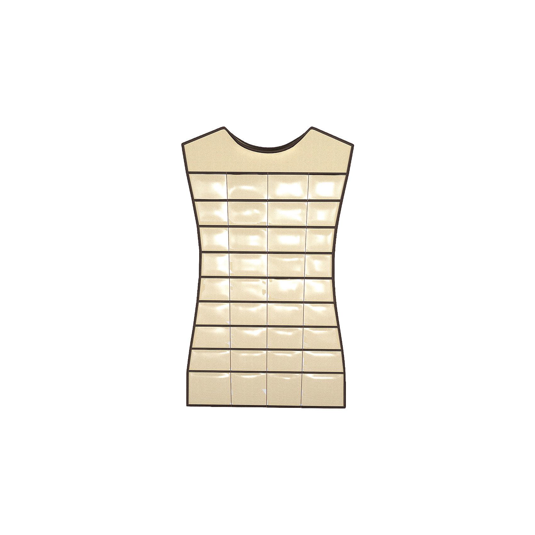 Органайзер-платье для украшений, аксессуаров, мелочей, HomsuОрганайзеры для одежды<br>Характеристики товара:<br><br>• цвет: бежевый<br>• материал: полиэстер, ПВХ<br>• размер: 46х75 см<br>• вес: 300 г<br>• подвесной<br>• крепление: крючок<br>• вместимость: 36 отделений<br>• страна бренда: Россия<br>• страна изготовитель: Китай<br><br>Органайзер-платье для украшений, аксессуаров, мелочей, от бренда Homsu (Хомсу) - очень удобная вещь для хранения вещей и эргономичной организации пространства.<br><br>Он легкий, вместительный, легко помещается в шкафу или на двери.<br><br>Органайзер-платье для украшений, аксессуаров, мелочей, Homsu можно купить в нашем интернет-магазине.<br><br>Ширина мм: 150<br>Глубина мм: 450<br>Высота мм: 20<br>Вес г: 300<br>Возраст от месяцев: 216<br>Возраст до месяцев: 1188<br>Пол: Унисекс<br>Возраст: Детский<br>SKU: 5620103