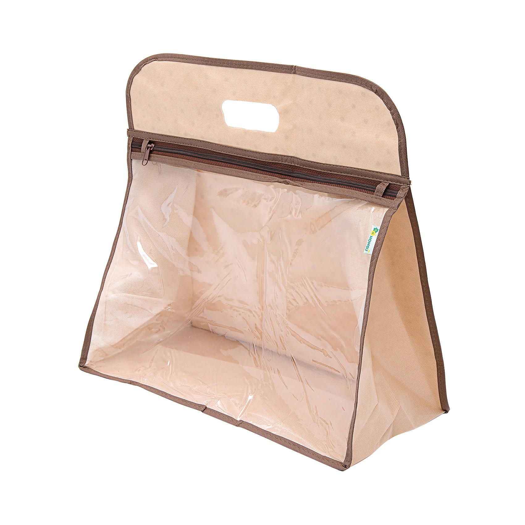 Чехол для сумки, HomsuПорядок в детской<br>Характеристики товара:<br><br>• цвет: бежевый<br>• материал: ПВХ, спанбонд<br>• размер: 40х20х40 см<br>• вес: 200 г<br>• застежка: молния<br>• ручка для переноски<br>• прозрачная вставка<br>• вместимость: 1 отделение<br>• страна бренда: Россия<br>• страна изготовитель: Китай<br><br>Чехол для сумки от бренда Homsu (Хомсу) - очень удобная вещь для хранения вещей и эргономичной организации пространства.<br><br>Предмет легкий, вместительный, обеспечивает естественную вентиляцию.<br><br>Чехол для сумки, Homsu можно купить в нашем интернет-магазине.<br><br>Ширина мм: 260<br>Глубина мм: 400<br>Высота мм: 10<br>Вес г: 200<br>Возраст от месяцев: 216<br>Возраст до месяцев: 1188<br>Пол: Унисекс<br>Возраст: Детский<br>SKU: 5620109