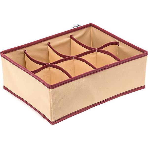 Органайзер на 8 секций Comfort (31*24*11), HomsuОрганайзеры для одежды<br>Характеристики товара:<br><br>• цвет: бежевый<br>• материал: спанбонд, картон, ПВХ<br>• размер: 31х24х11 см<br>• вес: 200 г<br>• легкий прочный каркас<br>• обеспечивает естественную вентиляцию<br>• вместимость: 8 отделений<br>• страна бренда: Россия<br>• страна изготовитель: Китай<br><br>Органайзер на 8 секций Comfort от бренда Homsu (Хомсу) - очень удобная вещь для хранения вещей и эргономичной организации пространства.<br><br>Он легкий, устойчивый, вместительный, обеспечивает естественную вентиляцию.<br><br>Органайзер на 8 секций Comfort (31*24*11), Homsu можно купить в нашем интернет-магазине.<br><br>Ширина мм: 530<br>Глубина мм: 110<br>Высота мм: 20<br>Вес г: 200<br>Возраст от месяцев: 216<br>Возраст до месяцев: 1188<br>Пол: Унисекс<br>Возраст: Детский<br>SKU: 5620116