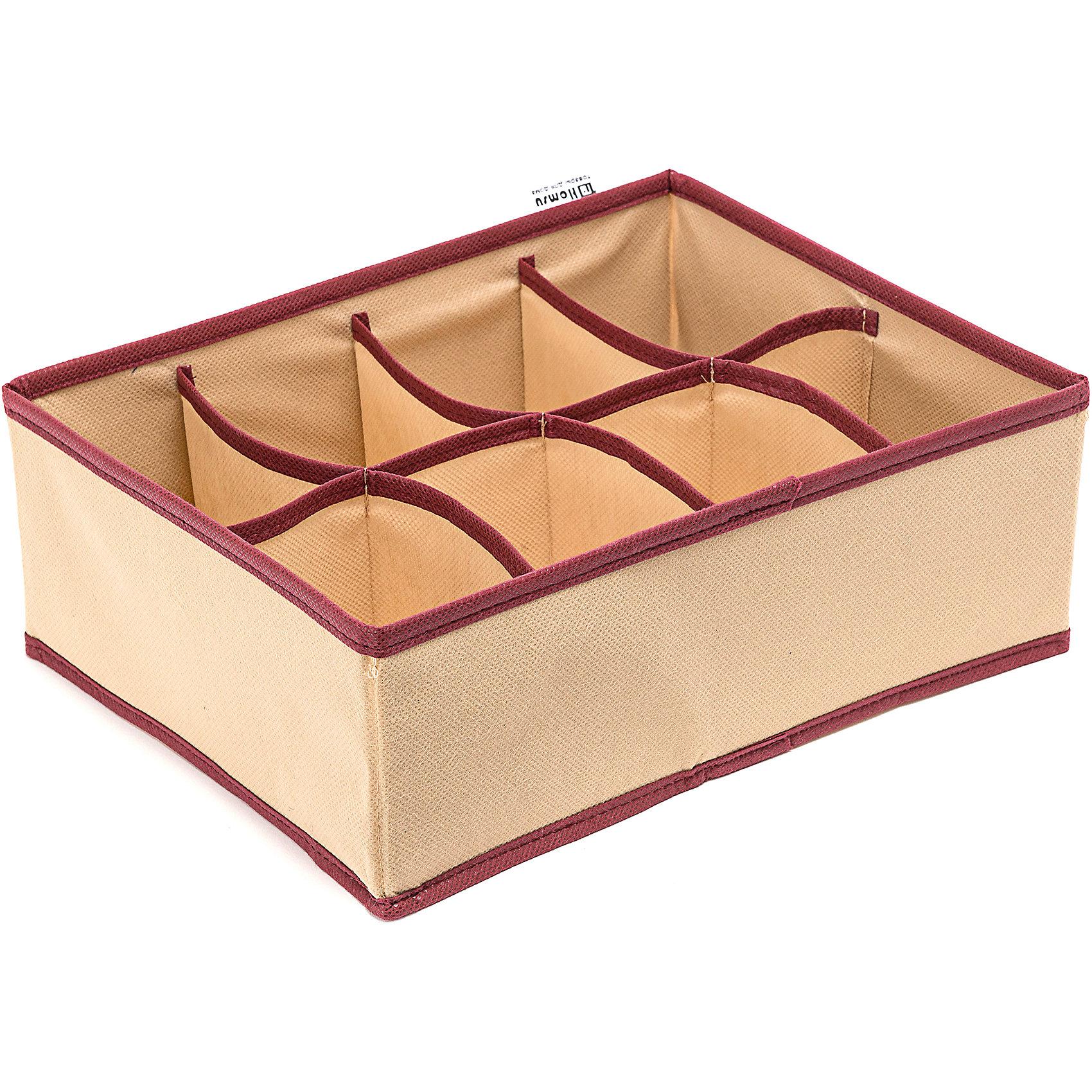 Органайзер на 8 секций Comfort (31*24*11), HomsuПорядок в детской<br>Прямоугольный, плоский органайзер имеет 8 раздельных ячеек размером 12Х8см, очень удобен для хранения вещей среднего размера в вашем ящике или на полке. Идеально для белья, шапок, рукавиц и других вещей ежедневного пользования. Имеет жесткие борта, что является гарантией сохранности вещей.<br><br>Ширина мм: 530<br>Глубина мм: 110<br>Высота мм: 20<br>Вес г: 200<br>Возраст от месяцев: 216<br>Возраст до месяцев: 1188<br>Пол: Унисекс<br>Возраст: Детский<br>SKU: 5620116