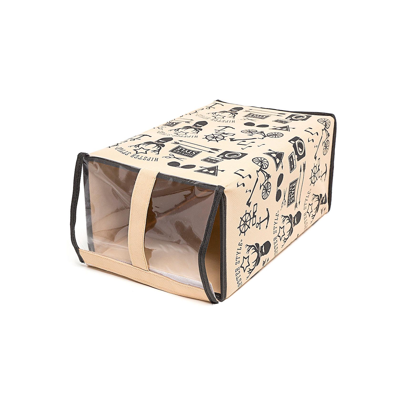 Обувная коробка Hipster Style (33*22*16), HomsuПорядок в детской<br>Характеристики товара:<br><br>• цвет: бежевый<br>• материал: спанбонд, картон, ПВХ<br>• размер: 33х22х16 см<br>• вес: 300 г<br>• прозрачная крышка<br>• ручка для переноски<br>• вместимость: 1 отделение<br>• страна бренда: Россия<br>• страна изготовитель: Китай<br><br>Обувная коробка Hipster Style от бренда Homsu (Хомсу) - очень удобная вещь для хранения вещей и эргономичной организации пространства.<br><br>Предмет легкий, устойчивый, вместительный, имеет удобную ручку для переноски.<br><br>Обувную коробку Hipster Style (33*22*16), Homsu можно купить в нашем интернет-магазине.<br><br>Ширина мм: 360<br>Глубина мм: 330<br>Высота мм: 20<br>Вес г: 300<br>Возраст от месяцев: 216<br>Возраст до месяцев: 1188<br>Пол: Унисекс<br>Возраст: Детский<br>SKU: 5620130