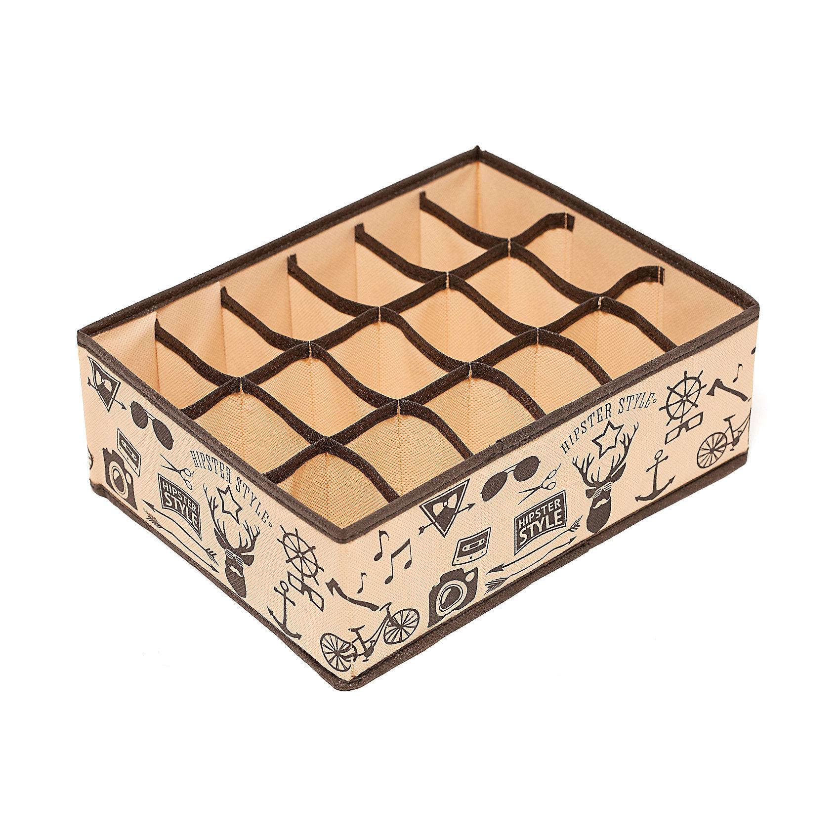 Органайзер на 18 секций Hipster Style (31*24*11), HomsuПорядок в детской<br>Прямоугольный и плоский органайзер имеет 18 раздельных ячеек размером 7Х5см, очень удобен для хранения мелких вещей в вашем ящике или на полке. Идеально для носков, платков, галстуков и других вещей ежедневного пользования. Имеет жесткие борта, что является гарантией сохранности вещей. Подходит в шкафы Били от Икея.<br><br>Ширина мм: 530<br>Глубина мм: 110<br>Высота мм: 20<br>Вес г: 200<br>Возраст от месяцев: 216<br>Возраст до месяцев: 1188<br>Пол: Унисекс<br>Возраст: Детский<br>SKU: 5620136
