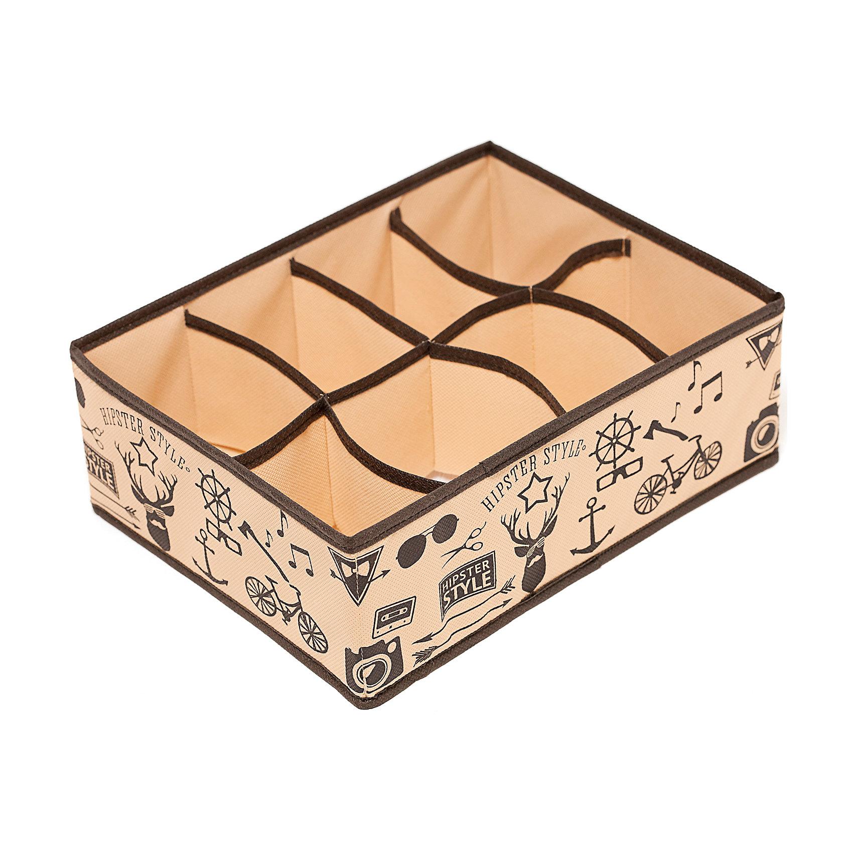 Органайзер на 8 секций Hipster Style (31*24*11), HomsuПорядок в детской<br>Прямоугольный и плоский органайзер имеет 8 раздельных ячеек размером 12Х8см, очень удобен для хранения вещей среднего размера в вашем ящике или на полке. Идеально для белья, шапок, рукавиц и других вещей ежедневного пользования. Имеет жесткие борта, что является гарантией сохранности вещей. Подходит в шкафы Били от Икея.<br><br>Ширина мм: 530<br>Глубина мм: 110<br>Высота мм: 20<br>Вес г: 200<br>Возраст от месяцев: 216<br>Возраст до месяцев: 1188<br>Пол: Унисекс<br>Возраст: Детский<br>SKU: 5620137