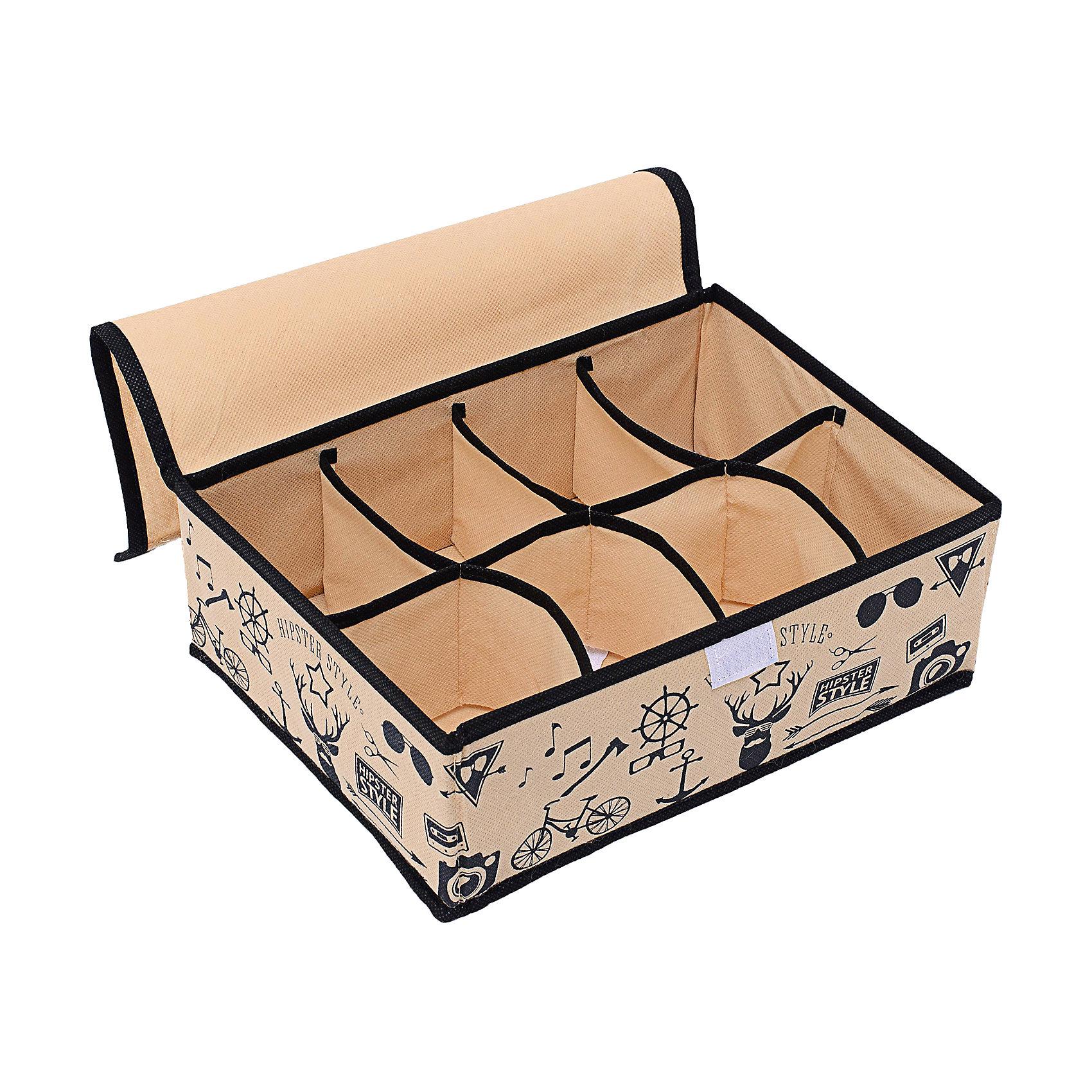 Органайзер на 8 секций с крышкой (31*24*11) Hipster Style, HomsuПорядок в детской<br>Прямоугольный и плоский органайзер имеет 8 раздельных ячеек размером 12Х8см, очень удобен для хранения вещей среднего размера в  ящике или на полке. Идеально для белья, шапок, рукавиц и других вещей ежедневного пользования. Имеет жесткие борта, что является гарантией сохранности вещей. Подходит в шкафы Билли от Икея.<br><br>Ширина мм: 530<br>Глубина мм: 110<br>Высота мм: 20<br>Вес г: 200<br>Возраст от месяцев: 216<br>Возраст до месяцев: 1188<br>Пол: Унисекс<br>Возраст: Детский<br>SKU: 5620138