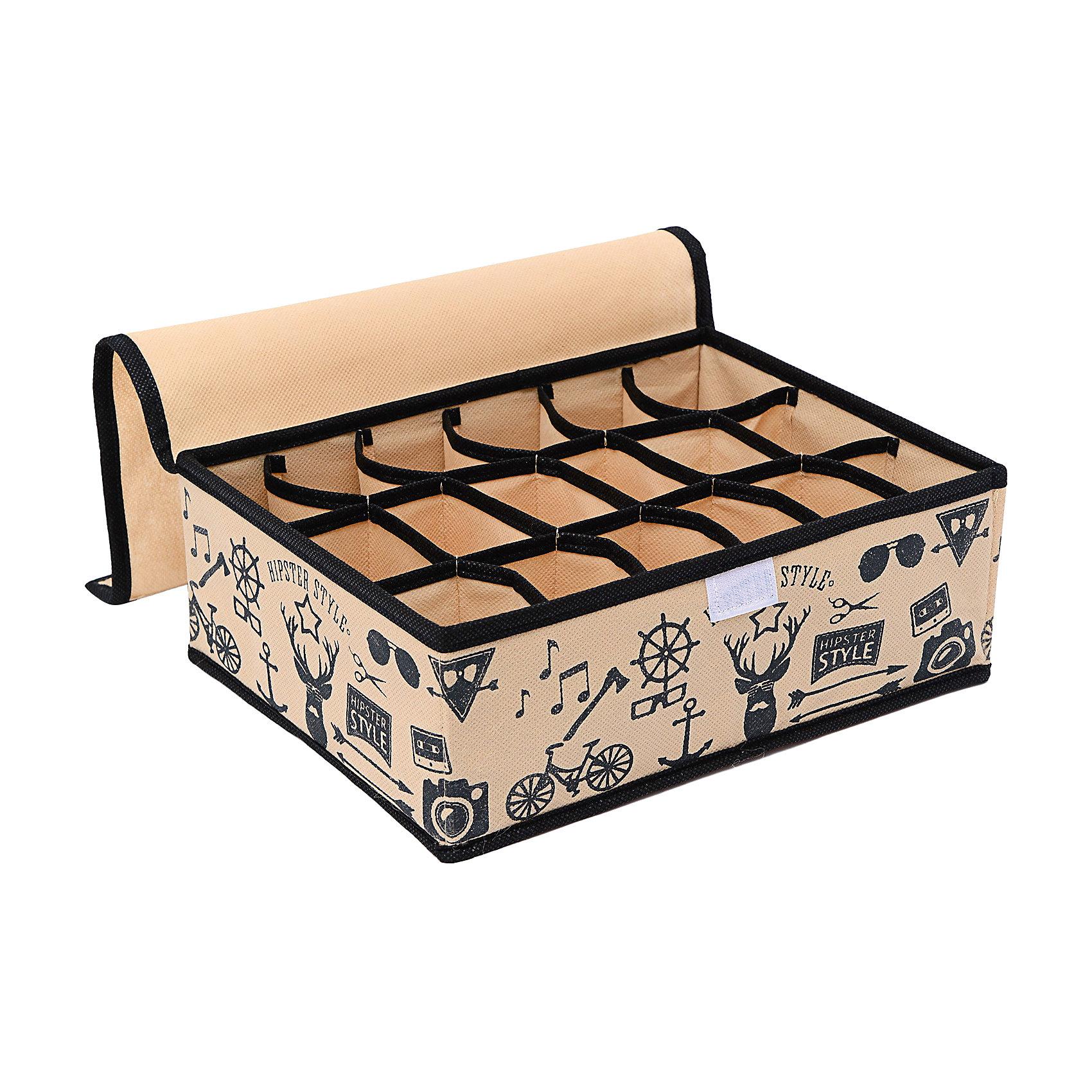 Органайзер на 18 секций (31*24*11) Hipster Style, HomsuПорядок в детской<br>Прямоугольный и плоский органайзер имеет 18 раздельных ячеек размером 7Х5см с крышкой очень удобен для хранения мелких вещей в вашем ящике или на полке. Идеально для носков, платков, галстуков и других вещей ежедневного пользования. Имеет жесткие борта, что является гарантией сохранности вещей. Подходит в шкафы Били от Икея.<br><br>Ширина мм: 530<br>Глубина мм: 110<br>Высота мм: 20<br>Вес г: 200<br>Возраст от месяцев: 216<br>Возраст до месяцев: 1188<br>Пол: Унисекс<br>Возраст: Детский<br>SKU: 5620141