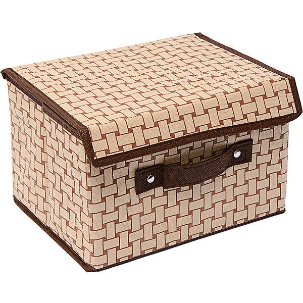 Коробка с крышкой (19*25*16) Pletenka, HomsuОрганайзеры для одежды<br>Характеристики товара:<br><br>• цвет: бежевый<br>• материал: спанбонд, картон<br>• размер: 19х25х16 см<br>• вес: 200 г<br>• легкий прочный каркас<br>• застежка: липучка<br>• крышка<br>• ручка для переноски<br>• вместимость: 1 отделение<br>• страна бренда: Россия<br>• страна изготовитель: Китай<br><br>Коробка с крышкой Pletenka от бренда Homsu (Хомсу) - очень удобная вещь для хранения вещей и эргономичной организации пространства.<br><br>Предмет легкий, устойчивый, вместительный, имеет удобную ручку для переноски.<br><br>Коробку с крышкой Pletenka (19*25*16), Homsu можно купить в нашем интернет-магазине.<br><br>Ширина мм: 190<br>Глубина мм: 250<br>Высота мм: 20<br>Вес г: 200<br>Возраст от месяцев: 216<br>Возраст до месяцев: 1188<br>Пол: Унисекс<br>Возраст: Детский<br>SKU: 5620146
