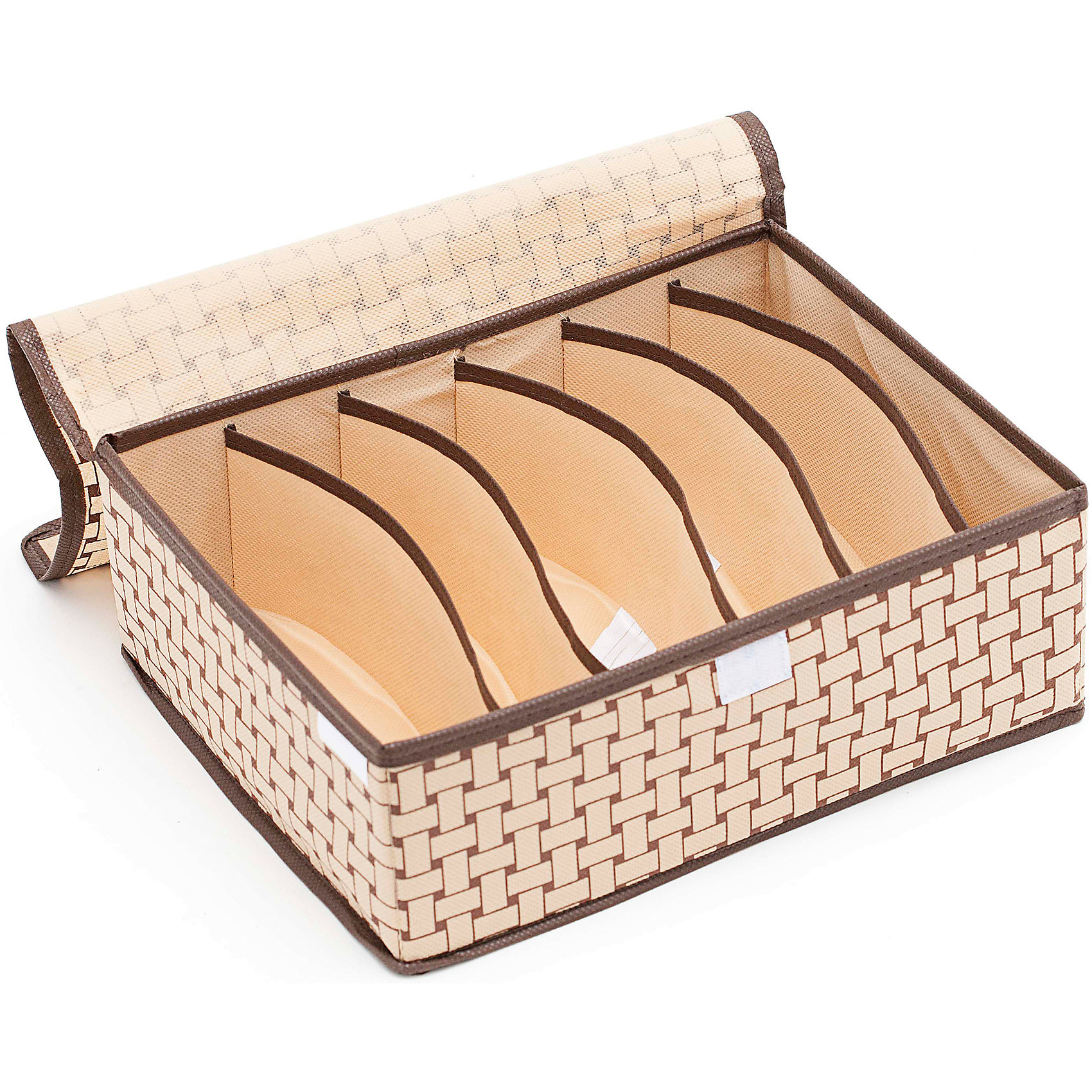 Органайзер для бюстгальтеров на 6 секций Pletenka (31*24*11), HomsuПорядок в детской<br>Прямоугольный и плоский органайзер имеет 6 раздельных ячеек размером 23Х5см с крышкой очень удобен для хранения мелких вещей в вашем ящике или на полке. Идеально для бюстгальтеров, нижнего белья и других вещей ежедневного пользования. Имеет жесткие борта, что является гарантией сохранности вещей. Подходит в шкафы Били от Икея.<br><br>Ширина мм: 530<br>Глубина мм: 110<br>Высота мм: 20<br>Вес г: 200<br>Возраст от месяцев: 216<br>Возраст до месяцев: 1188<br>Пол: Женский<br>Возраст: Детский<br>SKU: 5620156