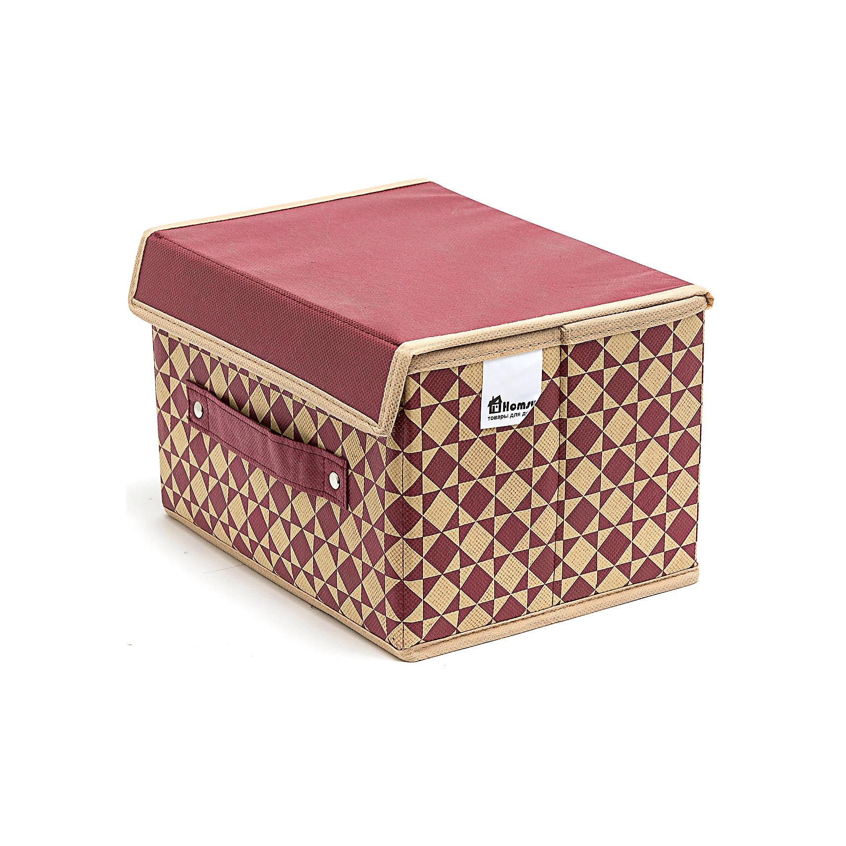 Коробка с крышкой Bordo (19*25*16), HomsuПорядок в детской<br>Характеристики товара:<br><br>• цвет: бордовый<br>• материал: спанбонд, картон<br>• размер: 19х25х16 см<br>• вес: 200 г<br>• легкий прочный каркас<br>• застежка: липучка<br>• крышка<br>• ручка для переноски<br>• вместимость: 1 отделение<br>• страна бренда: Россия<br>• страна изготовитель: Китай<br><br>Коробка с крышкой Bordo от бренда Homsu (Хомсу) - очень удобная вещь для хранения вещей и эргономичной организации пространства.<br><br>Предмет легкий, устойчивый, вместительный, имеет удобную ручку для переноски.<br><br>Коробку с крышкой Bordo (19*25*16), Homsu можно купить в нашем интернет-магазине.<br><br>Ширина мм: 190<br>Глубина мм: 250<br>Высота мм: 20<br>Вес г: 200<br>Возраст от месяцев: 216<br>Возраст до месяцев: 1188<br>Пол: Унисекс<br>Возраст: Детский<br>SKU: 5620172