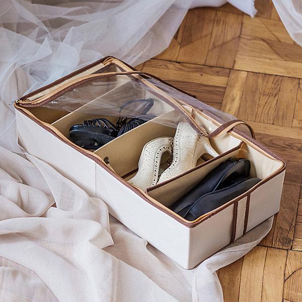 Органайзер для обуви на 4 бокса Bora-Bora, HomsuОрганайзеры для одежды<br>Характеристики товара:<br><br>• цвет: бежевый<br>• материал: полиэстер, картон, ПВХ<br>• размер: 52х26х12 см<br>• вес: 500 г<br>• легкий прочный каркас<br>• застежка: молния<br>• прозрачная крышка<br>• вместимость: 4 отделения<br>• страна бренда: Россия<br>• страна изготовитель: Китай<br><br>Органайзер для обуви на 4 бокса Bora-Bora от бренда Homsu (Хомсу) - очень удобная вещь для хранения вещей и эргономичной организации пространства.<br><br>Он легкий, устойчивый, вместительный, крышка защищает вещи от пыли.<br><br>Органайзер для обуви на 4 бокса Bora-Bora, Homsu можно купить в нашем интернет-магазине.<br>Ширина мм: 330; Глубина мм: 270; Высота мм: 20; Вес г: 500; Возраст от месяцев: 216; Возраст до месяцев: 1188; Пол: Унисекс; Возраст: Детский; SKU: 5620198;