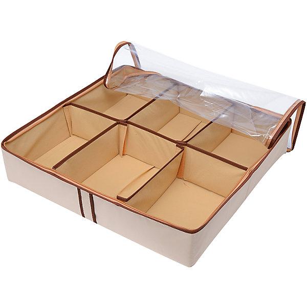 Органайзер для обуви на 6 боксов Bora-Bora, HomsuОрганайзеры для одежды<br>Характеристики товара:<br><br>• цвет: бежевый<br>• материал: спанбонд, картон, ПВХ<br>• размер: 54х51х13 см<br>• вес: 700 г<br>• легкий прочный каркас<br>• застежка: молния<br>• прозрачная крышка<br>• ручка для переноски<br>• вместимость: 6 отделений<br>• страна бренда: Россия<br>• страна изготовитель: Китай<br><br>Большой органайзер для обуви Bora-Bora от бренда Homsu (Хомсу) - очень удобная вещь для хранения вещей и эргономичной организации пространства.<br><br>Он легкий, устойчивый, вместительный, имеет удобную ручку для переноски.<br><br>Органайзер для обуви на 6 боксов Bora-Bora, Homsu можно купить в нашем интернет-магазине.<br>Ширина мм: 540; Глубина мм: 290; Высота мм: 20; Вес г: 700; Возраст от месяцев: 216; Возраст до месяцев: 1188; Пол: Унисекс; Возраст: Детский; SKU: 5620199;
