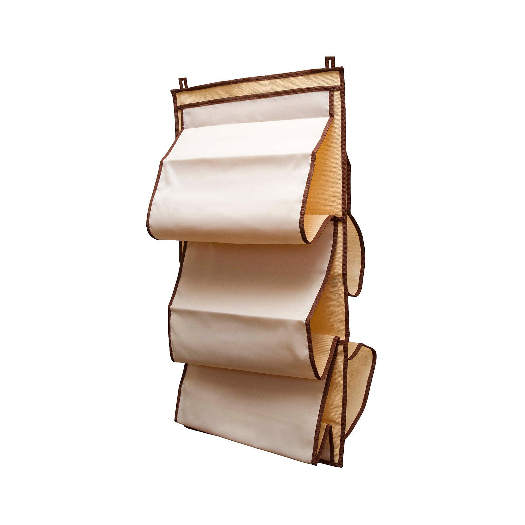 Органайзер для сумок в шкаф Bora-Bora, HomsuПорядок в детской<br>Характеристики товара:<br><br>• цвет: бежевый<br>• материал: полиэстер<br>• размер: 70х40х2 см.<br>• вес: 300 гр.<br>• застежка: молния<br>• крепление: крючок<br>• ручка для переноски<br>• вместимость: 5 отделений<br>• страна бренда: Россия<br>• страна изготовитель: Китай<br><br>Органайзер для сумок в шкаф Bora-Bora, Homsu (Хомсу) - очень удобная вещь для хранения вещей и эргономичной организации пространства.<br><br>Он состоит из пяти отделений, легко крепится на стену, дверь или внутрь шкафов.<br><br>Органайзер для сумок в шкаф Bora-Bora, Homsu можно купить в нашем интернет-магазине.<br><br>Ширина мм: 450<br>Глубина мм: 300<br>Высота мм: 20<br>Вес г: 300<br>Возраст от месяцев: 216<br>Возраст до месяцев: 1188<br>Пол: Унисекс<br>Возраст: Детский<br>SKU: 5620200