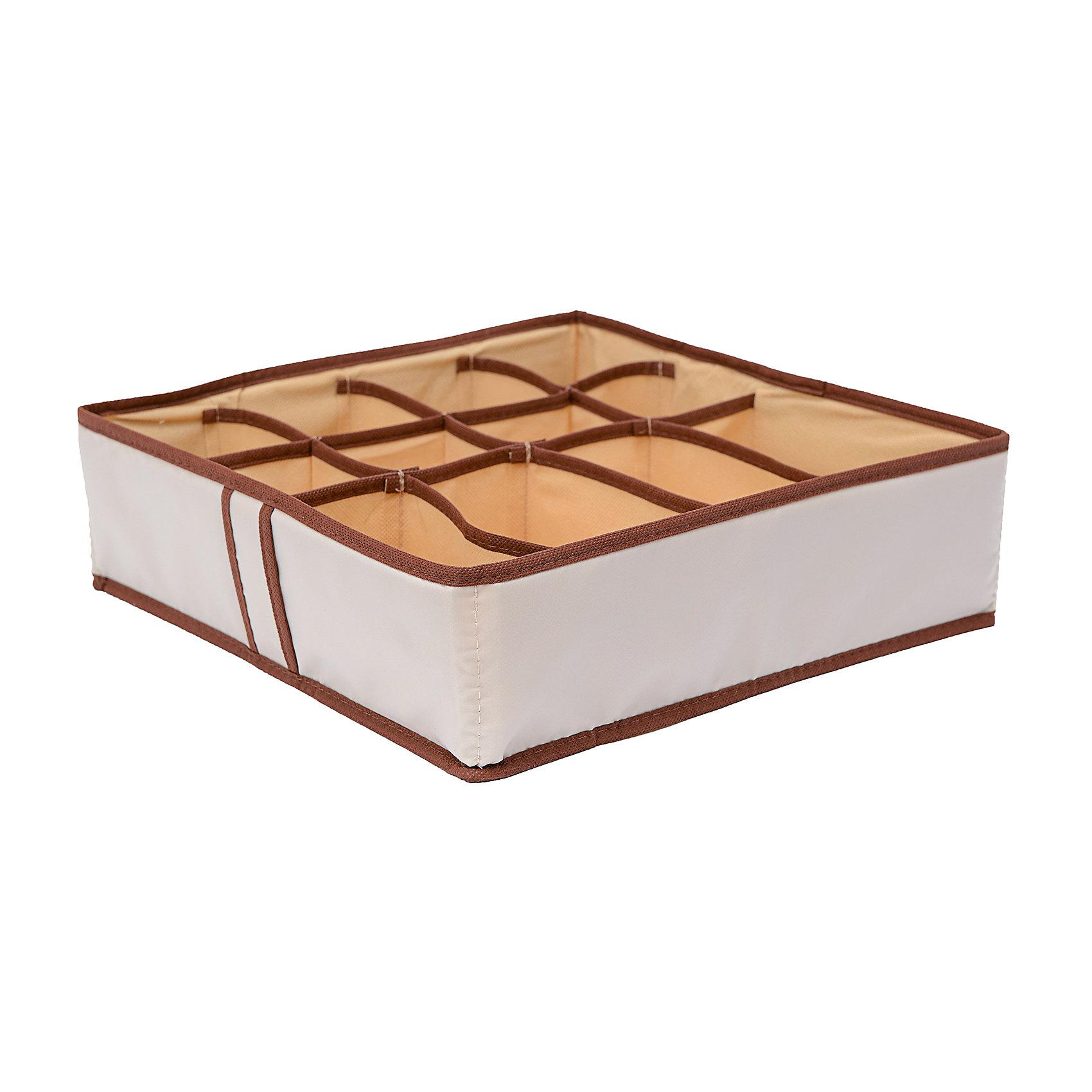 Органайзер на 12 секций Bora-Bora, HomsuПорядок в детской<br>Квадратный и плоский органайзер имеет 12 раздельных ячеек, 8 ячеек размером 8Х8см и 4 ячейки размером 8Х16см, очень удобен для хранения мелких вещей в вашем ящике или на полке. Идеально для носков, платков, галстуков и других вещей ежедневного пользования. Имеет жесткие борта, что является гарантией сохранности вещей.<br><br>Ширина мм: 350<br>Глубина мм: 100<br>Высота мм: 20<br>Вес г: 200<br>Возраст от месяцев: 216<br>Возраст до месяцев: 1188<br>Пол: Унисекс<br>Возраст: Детский<br>SKU: 5620201