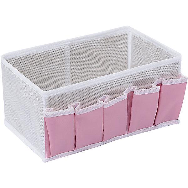 Коробочка для косметики и мелочей Capri, HomsuОрганайзеры для одежды<br>Характеристики товара:<br><br>• цвет: розовый<br>• материал: полиэстер, картон<br>• размер: 25х15х12 см<br>• вес: 100 г<br>• легкий прочный каркас<br>• обеспечивает естественную вентиляцию<br>• вместимость: 6 отделений<br>• страна бренда: Россия<br>• страна изготовитель: Китай<br><br>Коробочка для косметики и мелочей Capri от бренда Homsu (Хомсу) - очень удобная вещь для хранения вещей и эргономичной организации пространства.<br><br>Предмет легкий, устойчивый, вместительный, обеспечивает естественную вентиляцию.<br><br>Коробочку для косметики и мелочей Capri, Homsu можно купить в нашем интернет-магазине.<br>Ширина мм: 420; Глубина мм: 150; Высота мм: 20; Вес г: 100; Возраст от месяцев: 216; Возраст до месяцев: 1188; Пол: Унисекс; Возраст: Детский; SKU: 5620206;