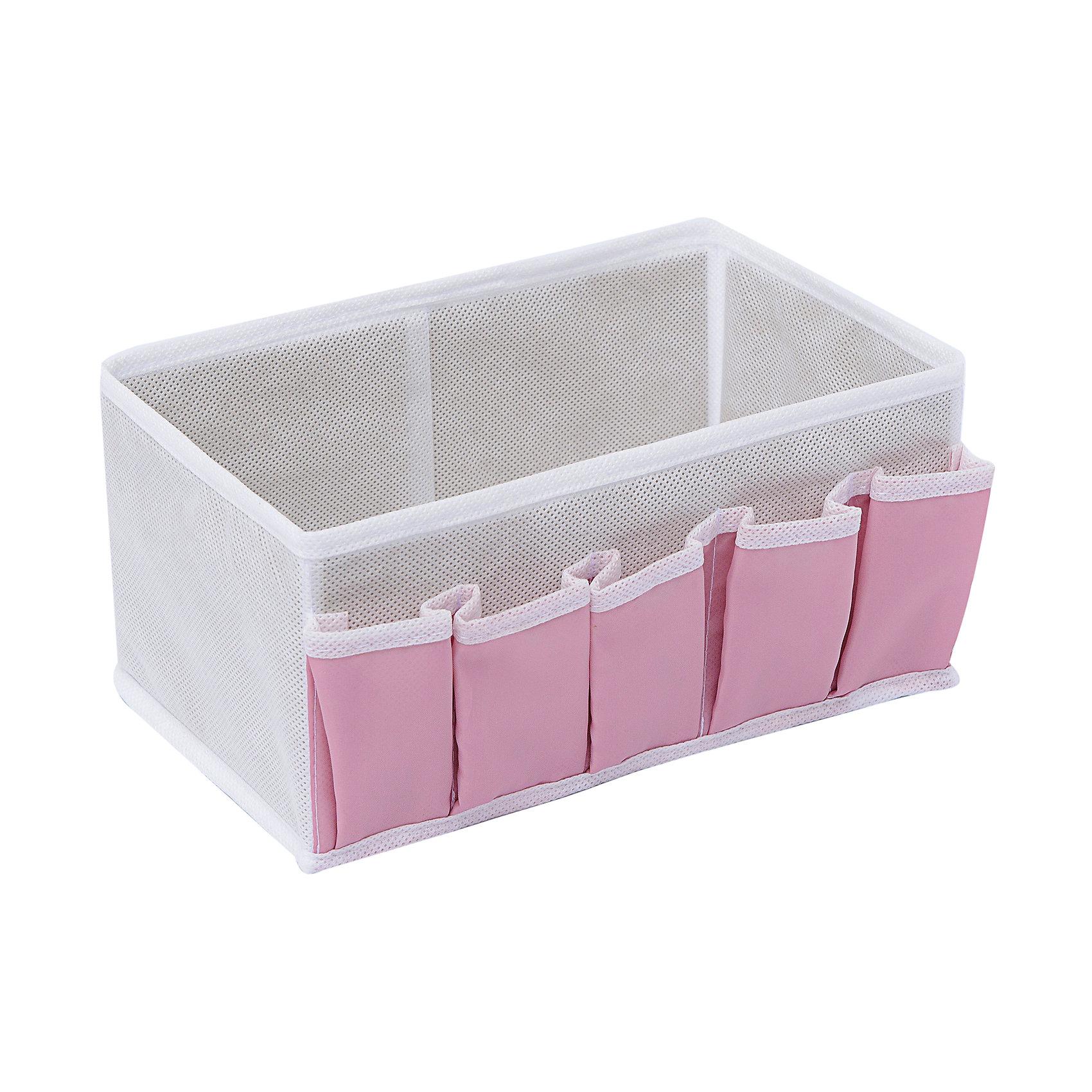 Коробочка для косметики и мелочей Capri, HomsuПорядок в детской<br>Характеристики товара:<br><br>• цвет: розовый<br>• материал: полиэстер, картон<br>• размер: 25х15х12 см<br>• вес: 100 г<br>• легкий прочный каркас<br>• обеспечивает естественную вентиляцию<br>• вместимость: 6 отделений<br>• страна бренда: Россия<br>• страна изготовитель: Китай<br><br>Коробочка для косметики и мелочей Capri от бренда Homsu (Хомсу) - очень удобная вещь для хранения вещей и эргономичной организации пространства.<br><br>Предмет легкий, устойчивый, вместительный, обеспечивает естественную вентиляцию.<br><br>Коробочку для косметики и мелочей Capri, Homsu можно купить в нашем интернет-магазине.<br><br>Ширина мм: 420<br>Глубина мм: 150<br>Высота мм: 20<br>Вес г: 100<br>Возраст от месяцев: 216<br>Возраст до месяцев: 1188<br>Пол: Унисекс<br>Возраст: Детский<br>SKU: 5620206