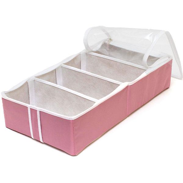 Органайзер для обуви на 4 бокса Capri, HomsuОрганайзеры для одежды<br>Характеристики товара:<br><br>• цвет: розовый<br>• материал: полиэстер, картон, ПВХ<br>• размер: 52х26х12 см<br>• вес: 500 г<br>• легкий прочный каркас<br>• застежка: молния<br>• прозрачная крышка<br>• вместимость: 4 отделения<br>• страна бренда: Россия<br>• страна изготовитель: Китай<br><br>Органайзер для обуви на 4 бокса Capri от бренда Homsu (Хомсу) - очень удобная вещь для хранения вещей и эргономичной организации пространства.<br><br>Он легкий, устойчивый, вместительный, крышка защищает вещи от пыли.<br><br>Органайзер для обуви на 4 бокса Capri, Homsu можно купить в нашем интернет-магазине.<br>Ширина мм: 330; Глубина мм: 270; Высота мм: 20; Вес г: 500; Возраст от месяцев: 216; Возраст до месяцев: 1188; Пол: Унисекс; Возраст: Детский; SKU: 5620209;
