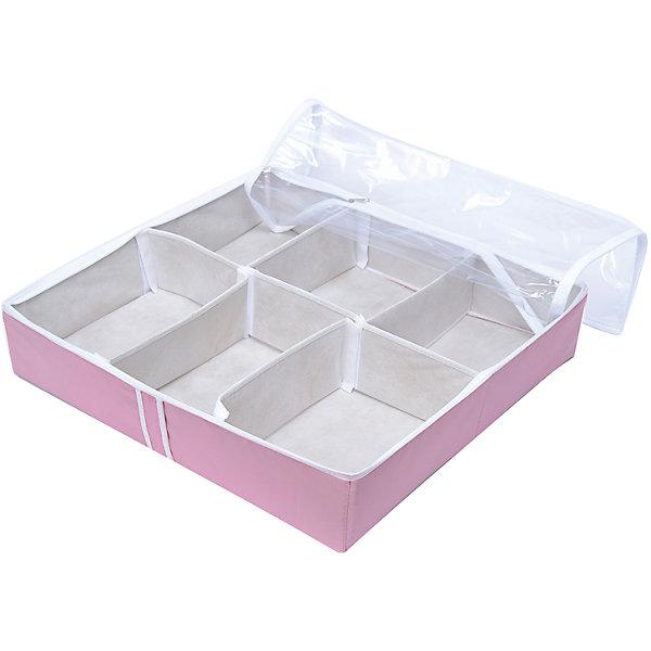 Органайзер для обуви на 6 боксов Capri, HomsuОрганайзеры для одежды<br>Характеристики товара:<br><br>• цвет: розовый<br>• материал: спанбонд, картон, ПВХ<br>• размер: 54х51х13 см<br>• вес: 700 г<br>• легкий прочный каркас<br>• застежка: молния<br>• прозрачная крышка<br>• ручка для переноски<br>• вместимость: 6 отделений<br>• страна бренда: Россия<br>• страна изготовитель: Китай<br><br>Органайзер для обуви на 6 боксов Capri от бренда Homsu (Хомсу) - очень удобная вещь для хранения вещей и эргономичной организации пространства.<br><br>Он легкий, устойчивый, вместительный, имеет удобную ручку для переноски.<br><br>Органайзер для обуви на 6 боксов Capri, Homsu можно купить в нашем интернет-магазине.<br><br>Ширина мм: 540<br>Глубина мм: 290<br>Высота мм: 20<br>Вес г: 700<br>Возраст от месяцев: 216<br>Возраст до месяцев: 1188<br>Пол: Унисекс<br>Возраст: Детский<br>SKU: 5620210