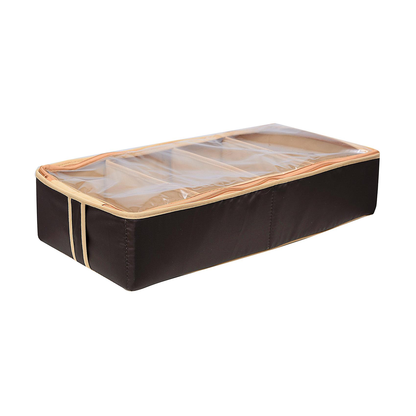 Органайзер для обуви на 4 бокса Costa-Rica, HomsuОрганайзеры для одежды<br>Характеристики товара:<br><br>• цвет: коричневый<br>• материал: полиэстер, картон, ПВХ<br>• размер: 52х26х12 см<br>• вес: 500 г<br>• легкий прочный каркас<br>• застежка: молния<br>• прозрачная крышка<br>• вместимость: 4 отделения<br>• страна бренда: Россия<br>• страна изготовитель: Китай<br><br>Органайзер для обуви на 4 бокса Costa-Rica от бренда Homsu (Хомсу) - очень удобная вещь для хранения вещей и эргономичной организации пространства.<br><br>Он легкий, устойчивый, вместительный, крышка защищает вещи от пыли.<br><br>Органайзер для обуви на 4 бокса Costa-Rica, Homsu можно купить в нашем интернет-магазине.<br><br>Ширина мм: 330<br>Глубина мм: 270<br>Высота мм: 20<br>Вес г: 500<br>Возраст от месяцев: 216<br>Возраст до месяцев: 1188<br>Пол: Унисекс<br>Возраст: Детский<br>SKU: 5620218